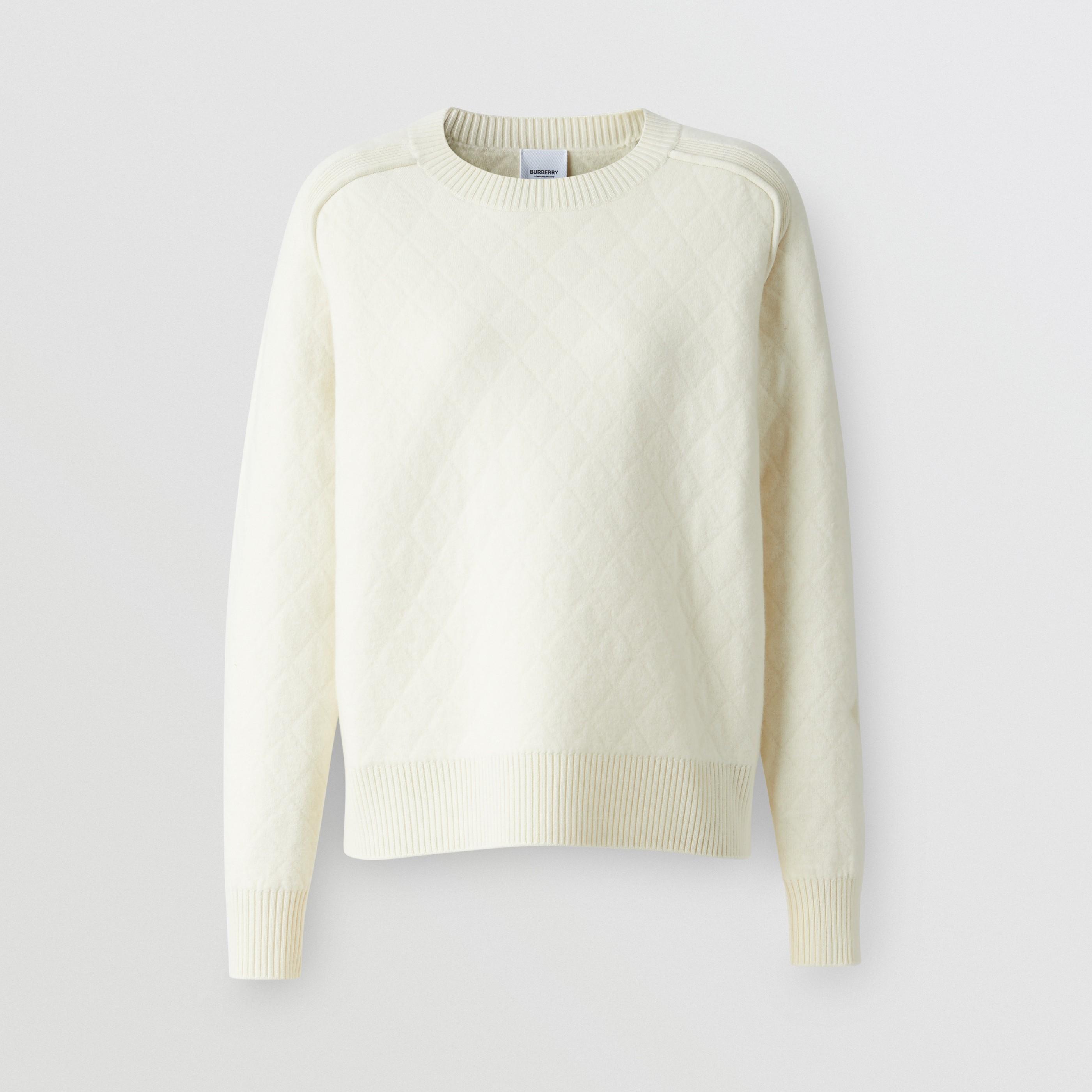 Pullover in lana con lavorazione a rombi (Cream) - Donna | Burberry - 4