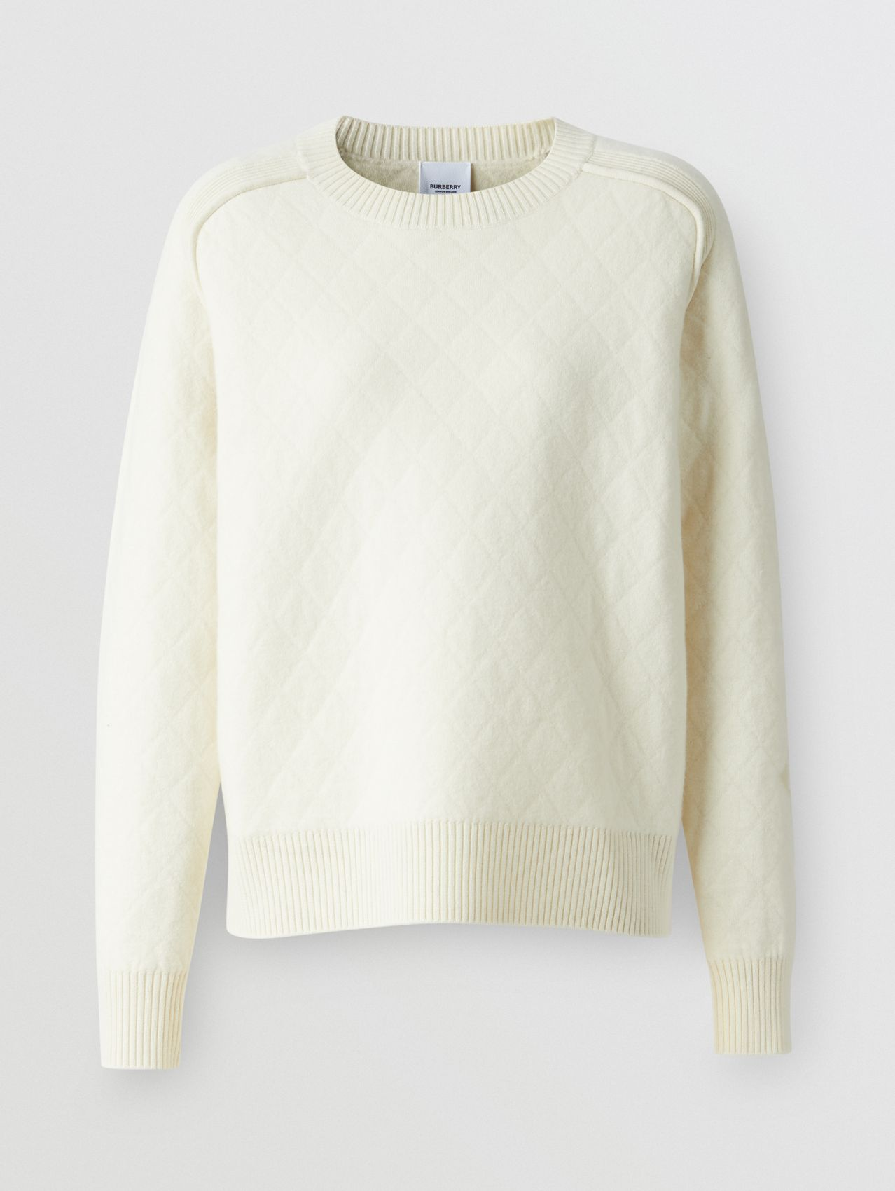 Diamond Knit Wool Sweater in Cream