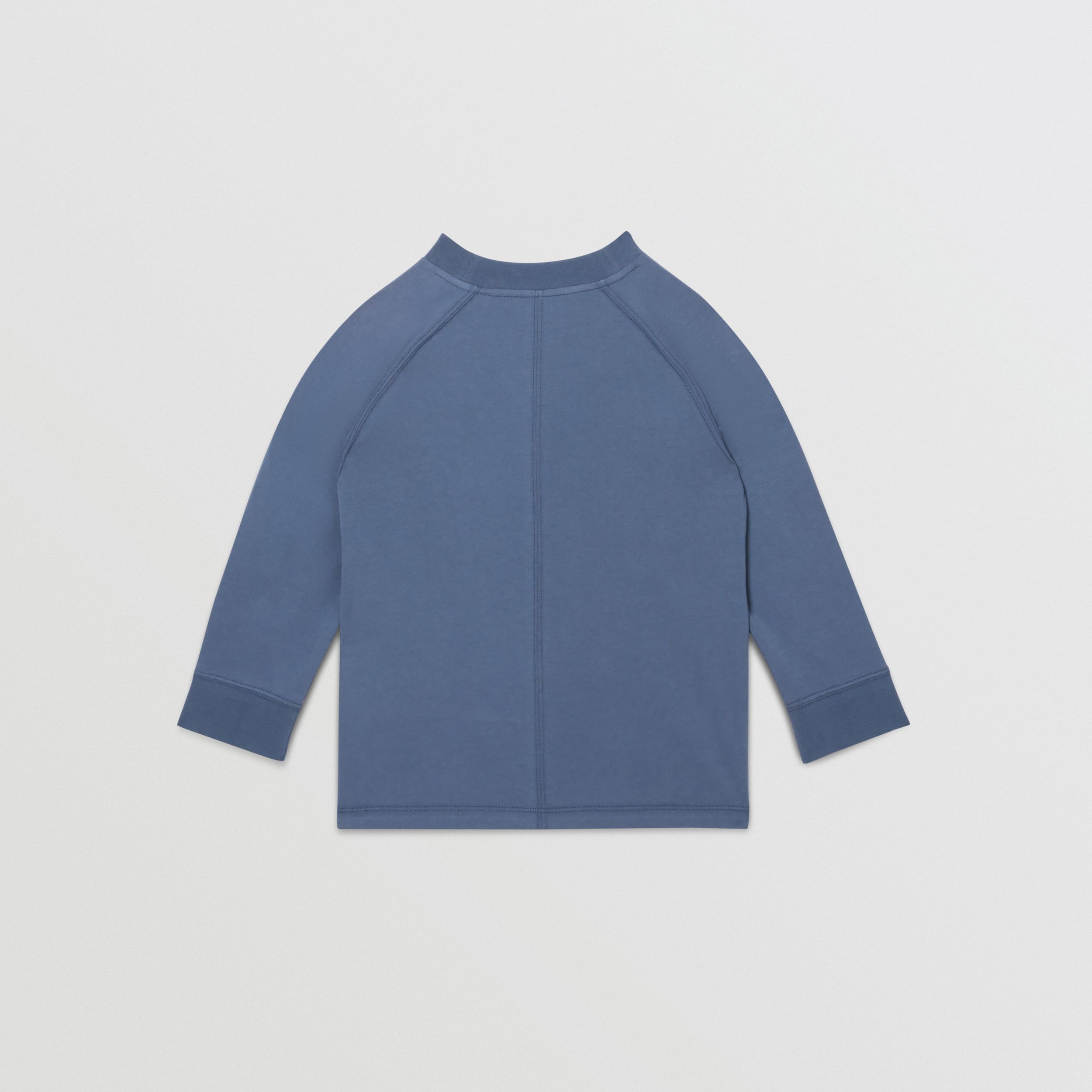 Long-sleeve Logo Print Cotton Top in Steel Blue | Burberry - 4