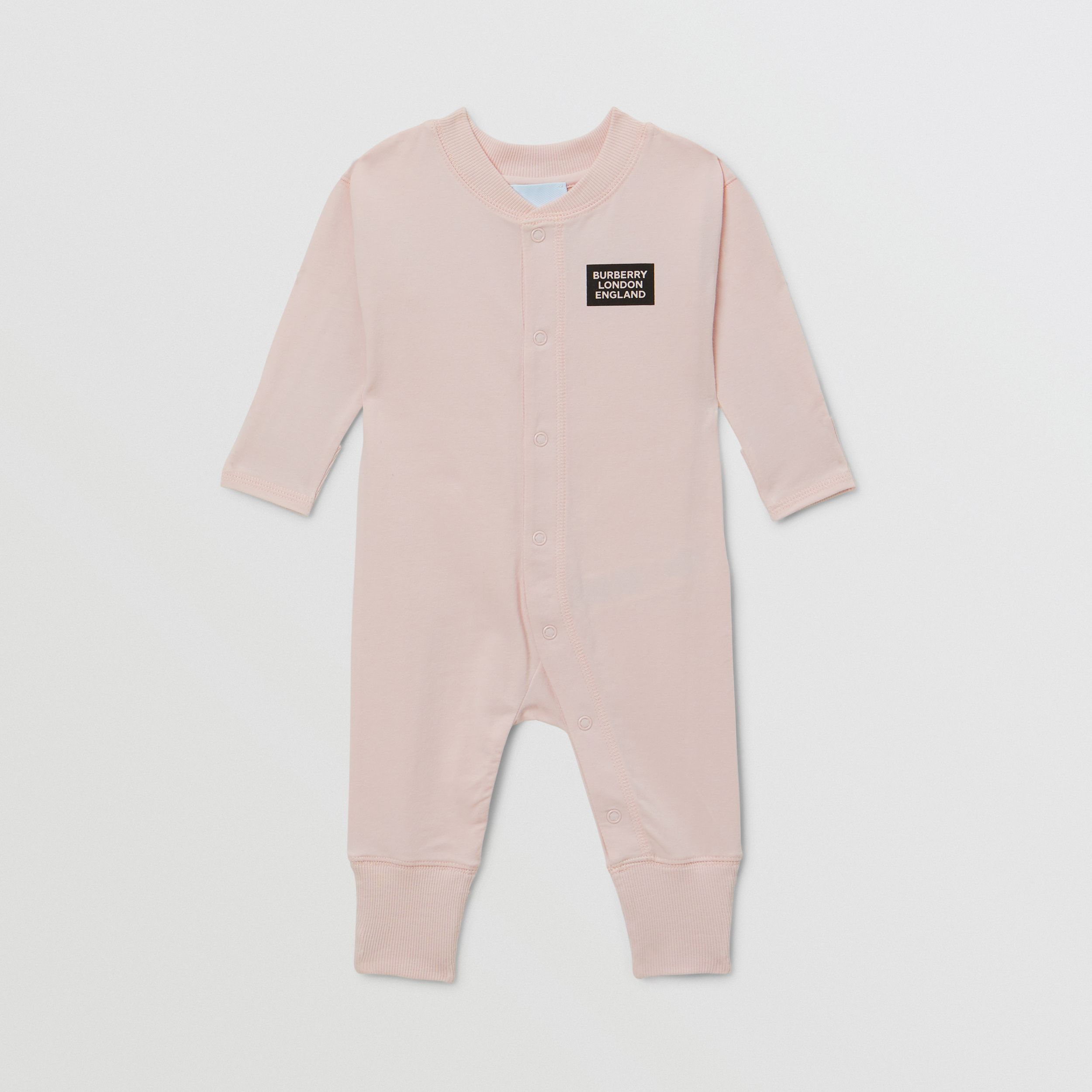 Check Trim Cotton Three-piece Baby Gift Set in Ice Pink - Children | Burberry Canada - 3