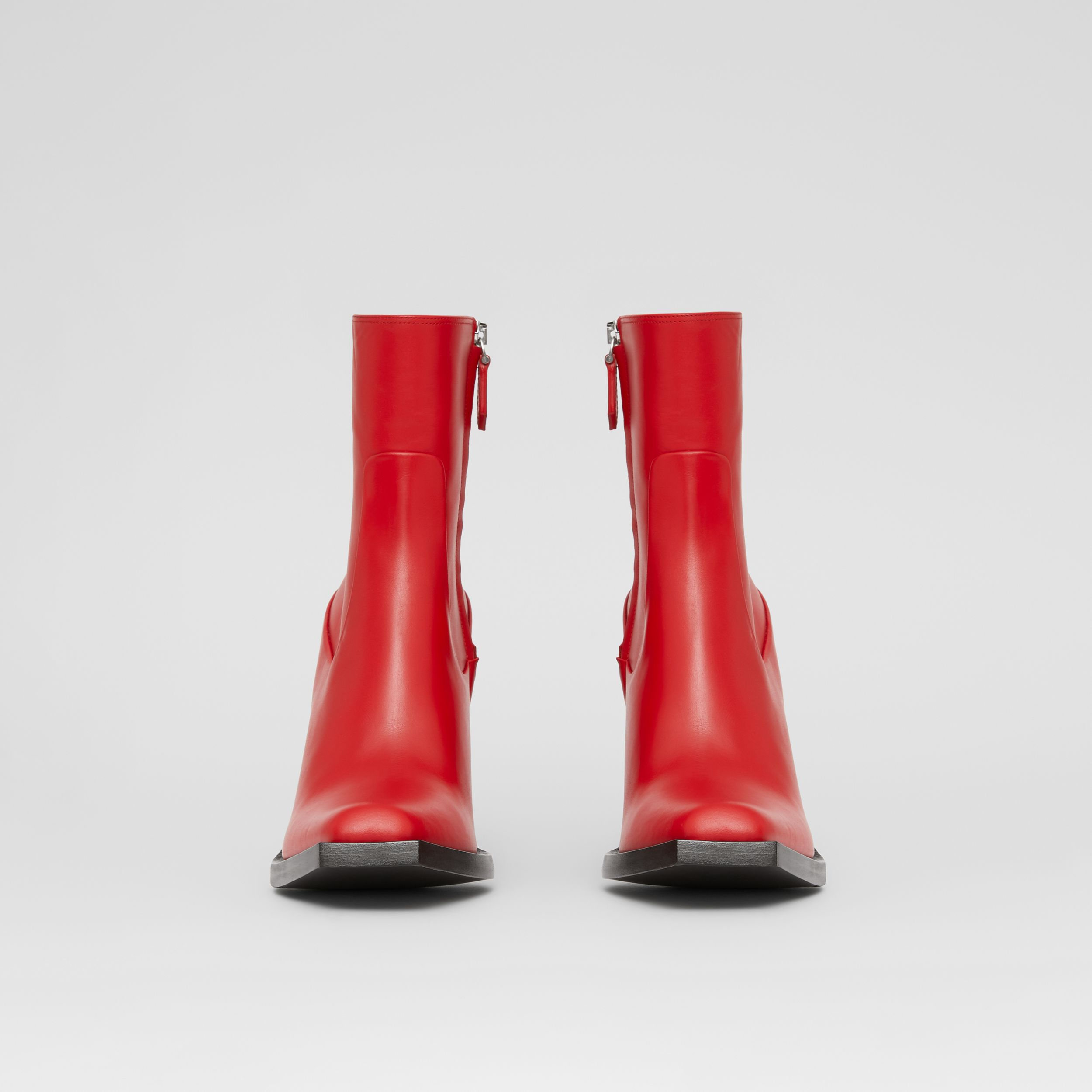 Leather Block-heel Ankle Boots in Bright Red - Women | Burberry - 4