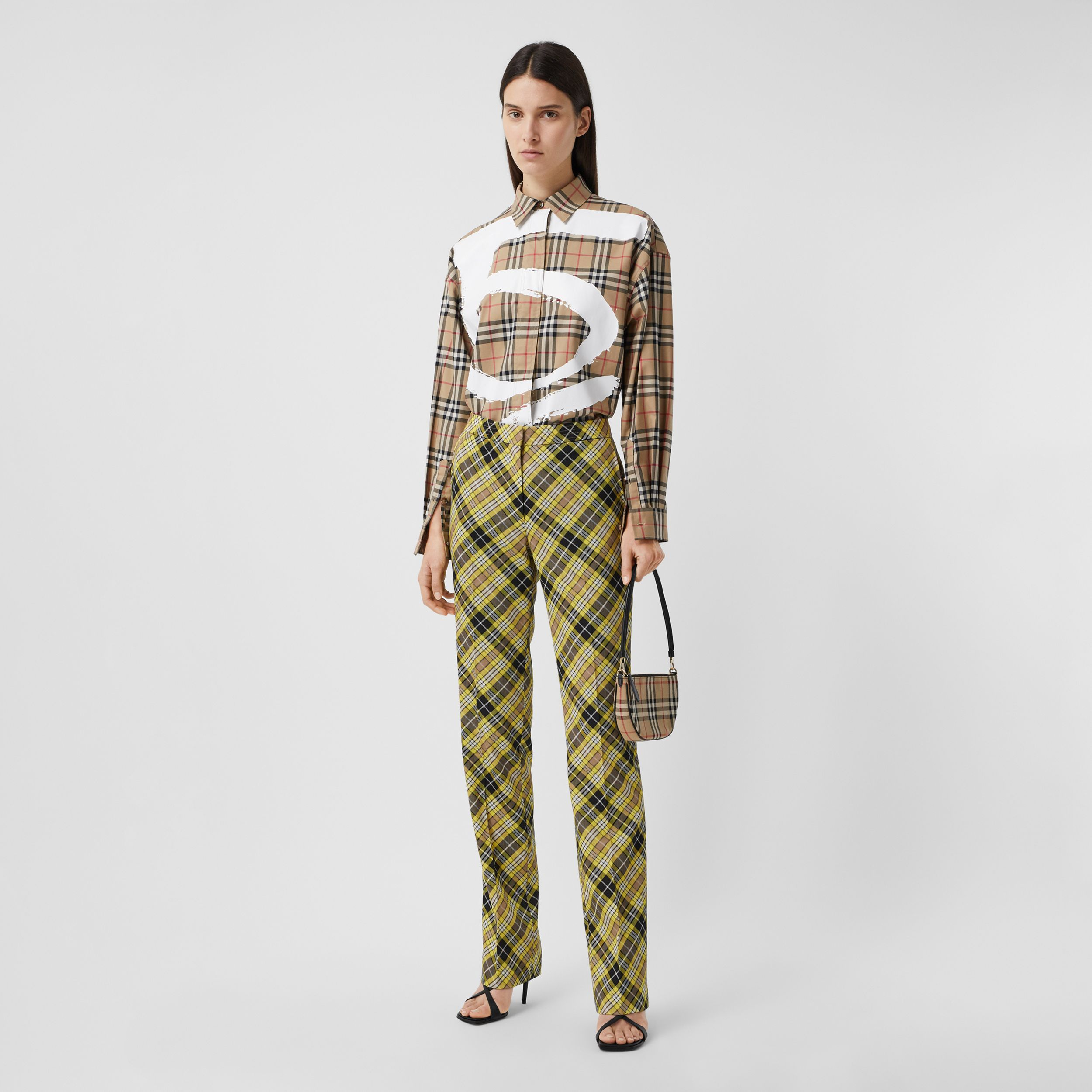 Love Print Vintage Check Cotton Oversized Shirt in Archive Beige - Women | Burberry - 1