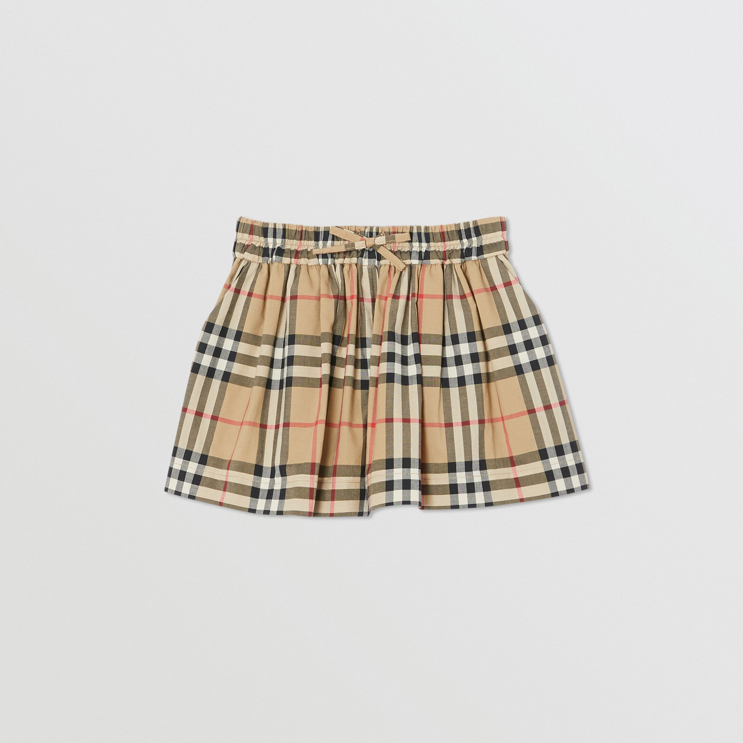Vintage Check Gathered Cotton Shorts in Archive Beige | Burberry - 1