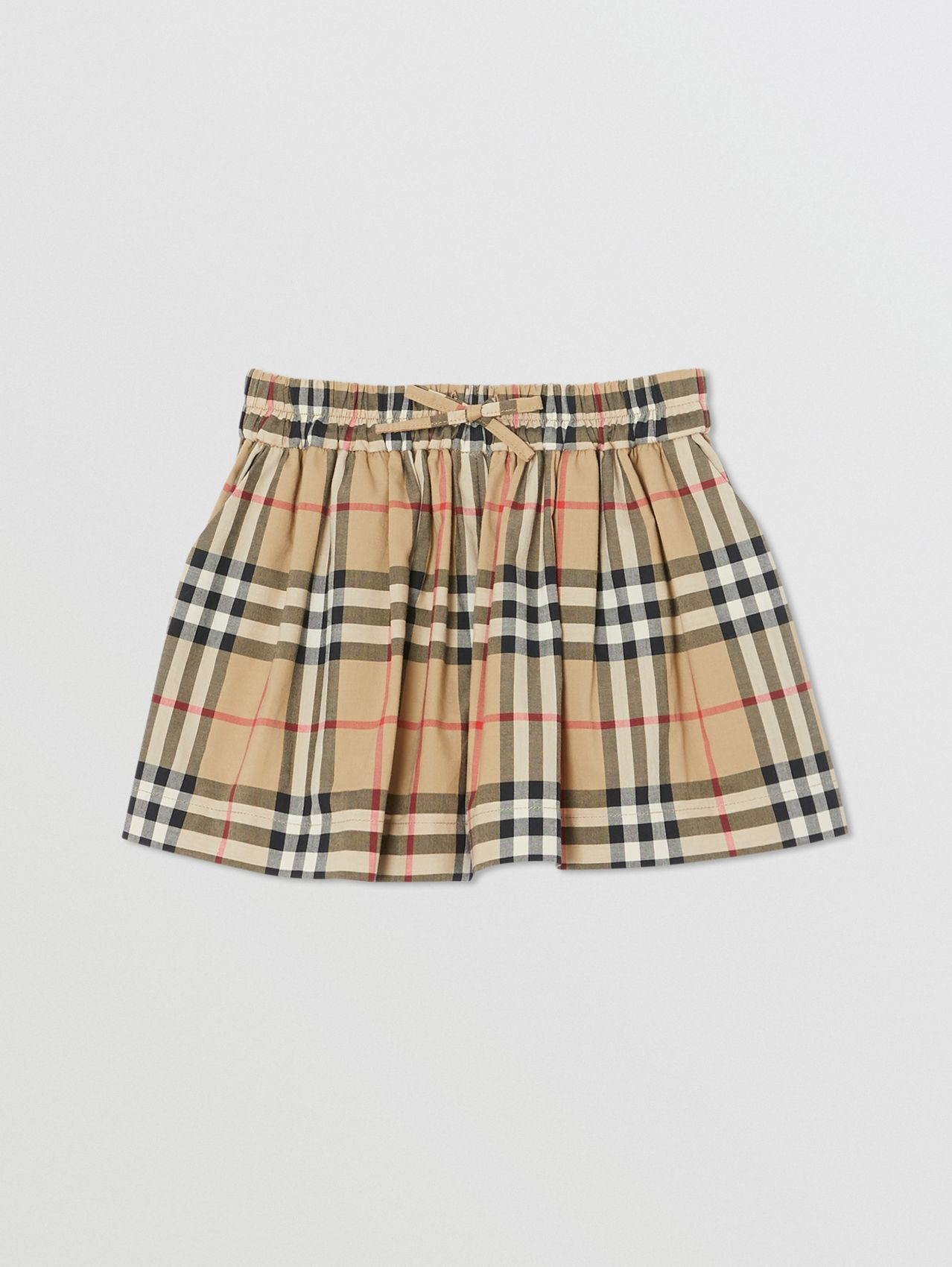 Vintage Check Gathered Cotton Shorts in Archive Beige