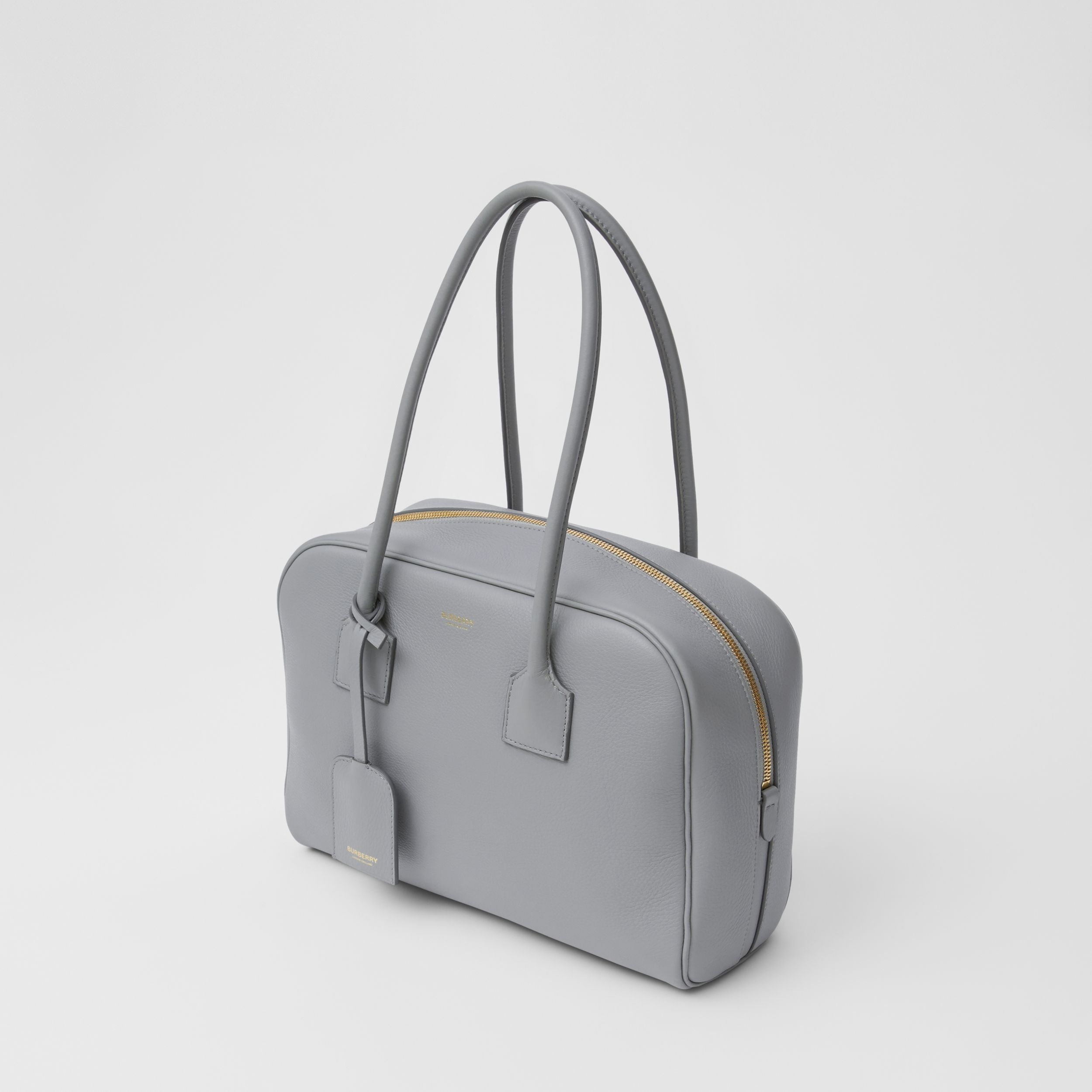 Medium Leather Half Cube Bag in Cloud Grey - Women | Burberry - 4