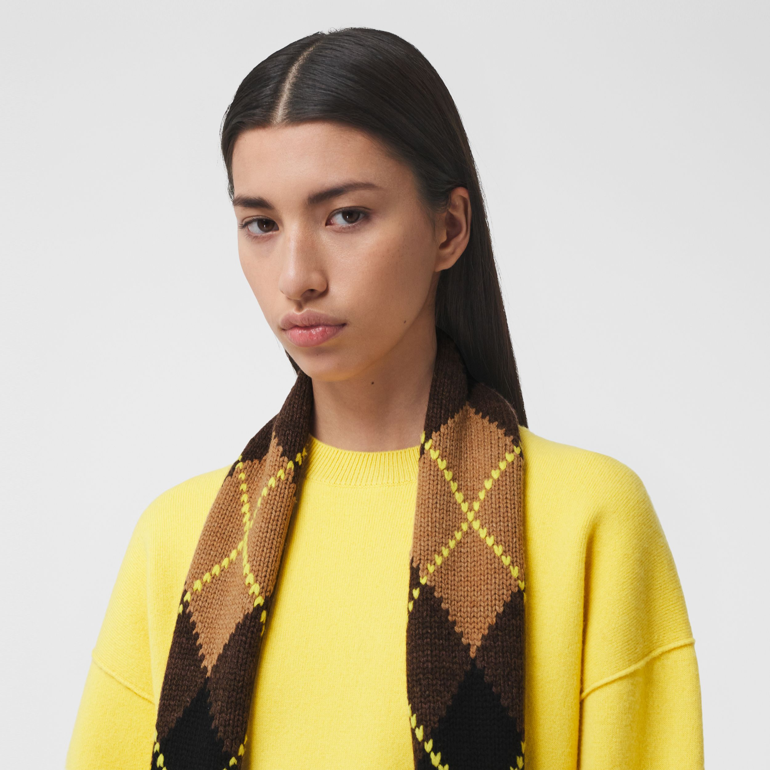 Argyle Intarsia Wool Cashmere Scarf in Brown | Burberry - 3
