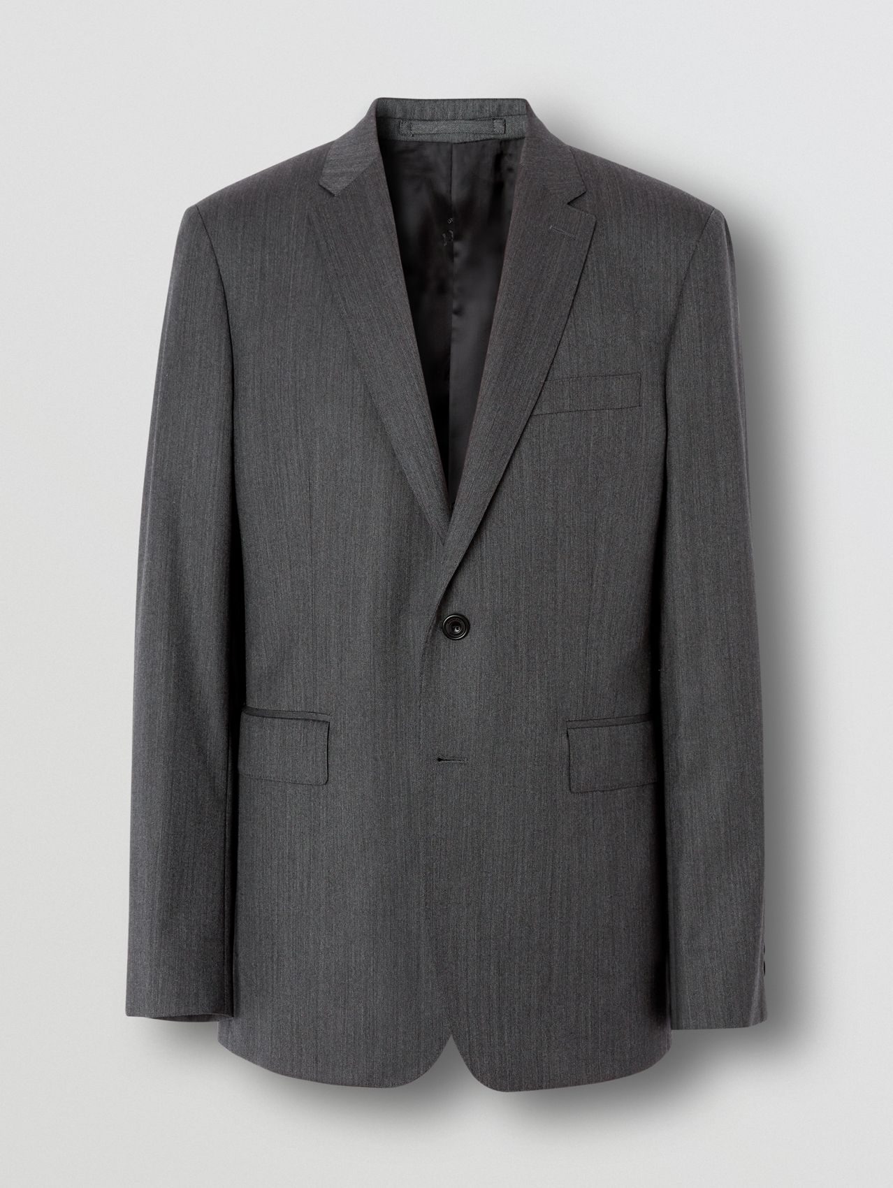 Slim Fit Herringbone Wool Suit in Mid Grey