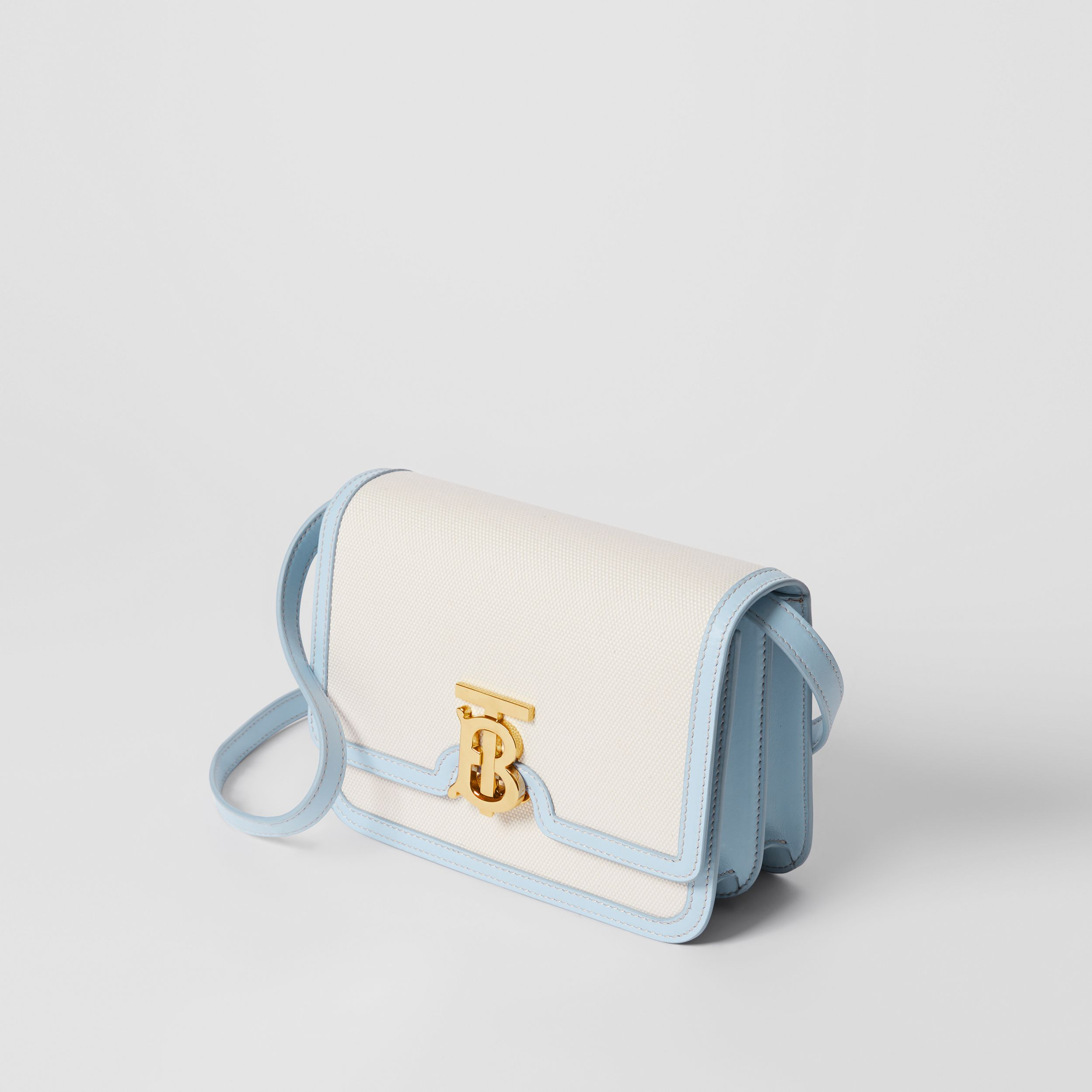 Small Two-tone Canvas and Leather TB Bag in Natural/pale Blue - Women | Burberry - 4