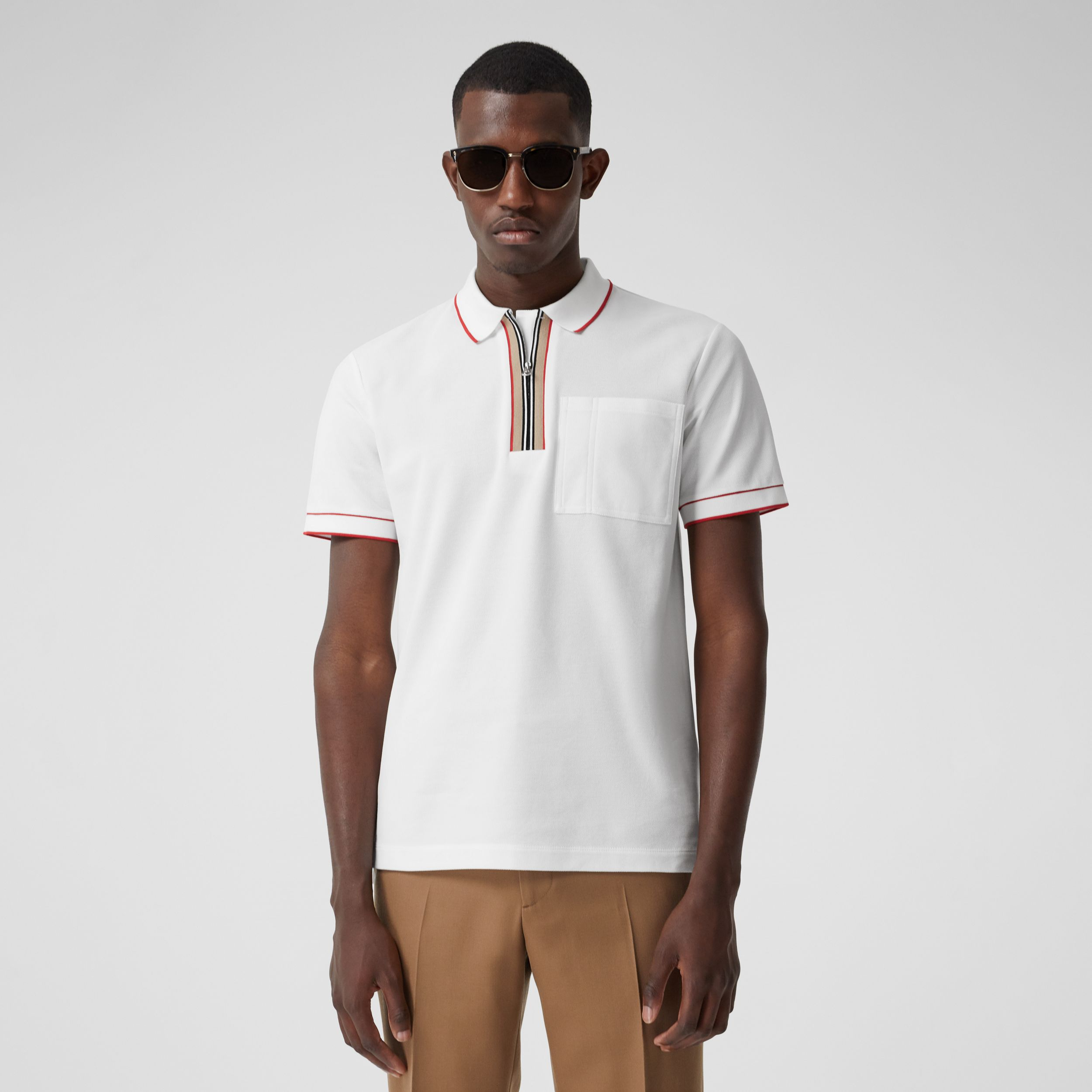 Icon Stripe Detail Cotton Zip-front Polo Shirt in White - Men | Burberry - 1