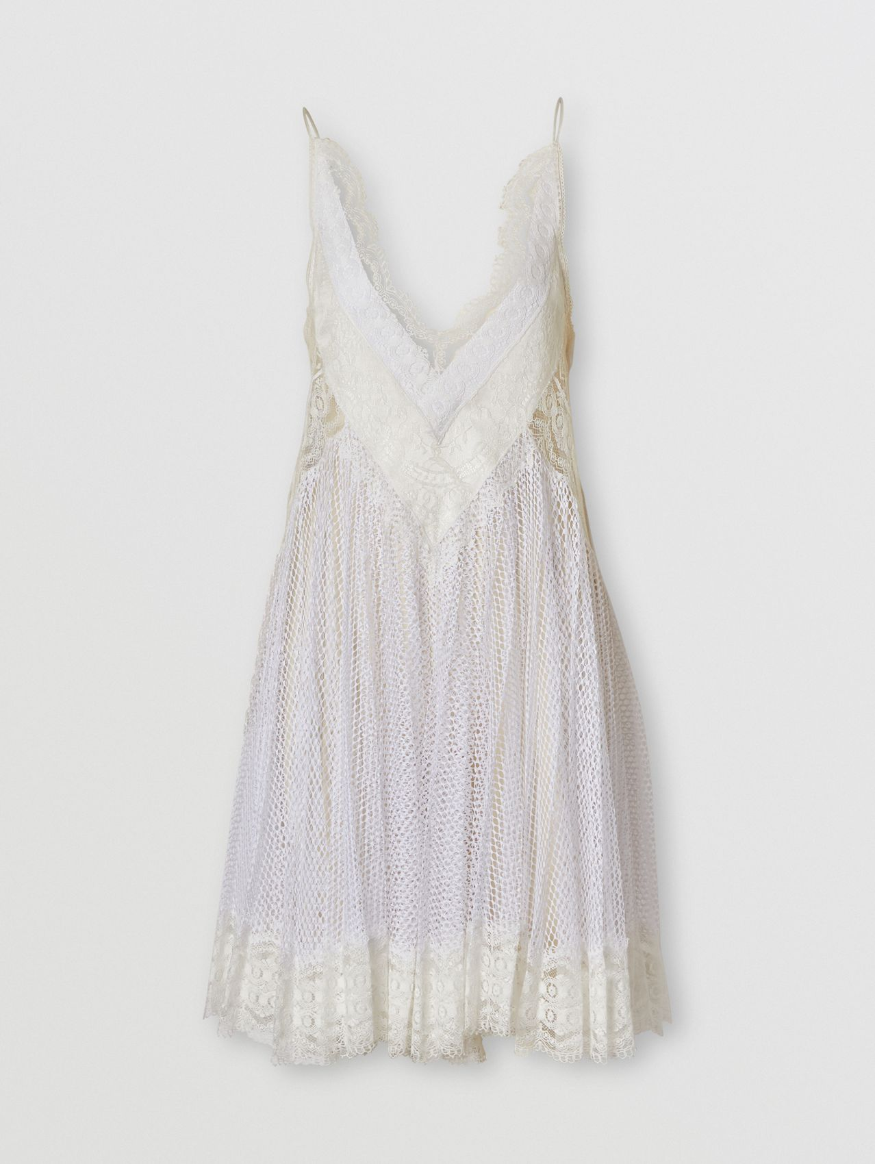 Fishnet and Lace Pleated Dress with Silk Slip in Optic White