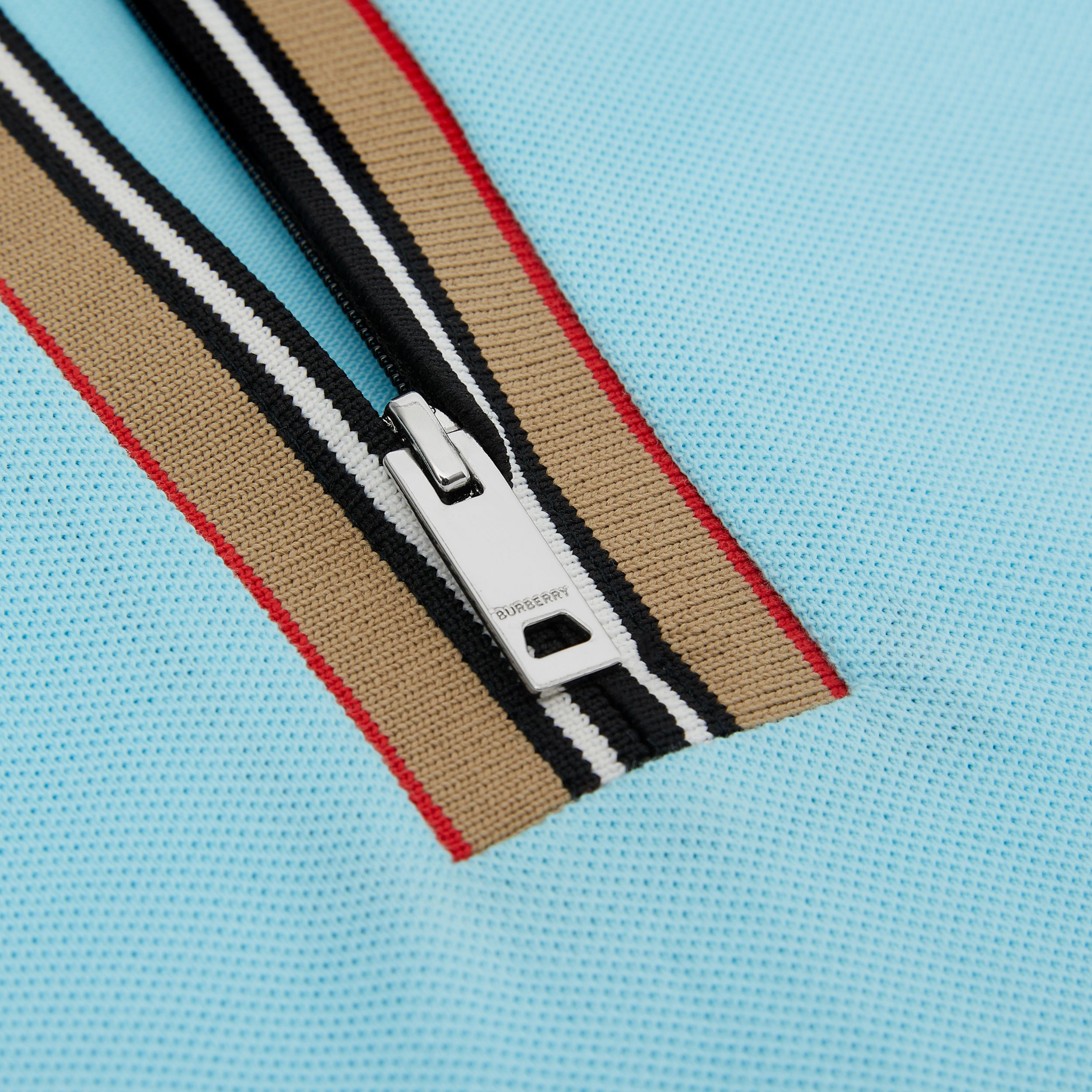 Icon Stripe Detail Cotton Zip-front Polo Shirt in Pale Turquoise | Burberry - 2