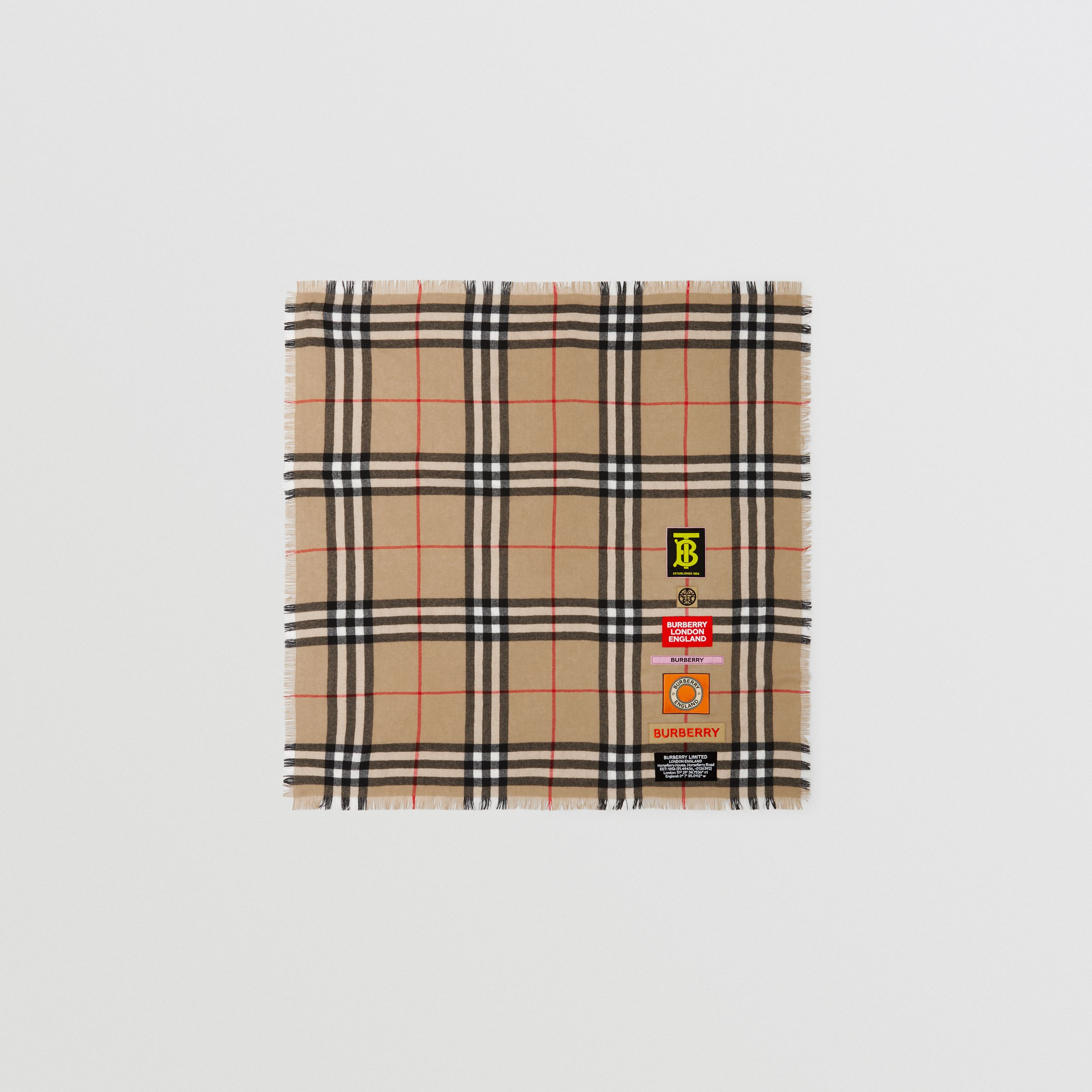 Logo Graphic Check Cashmere Large Square Scarf in Archive Beige | Burberry - 1