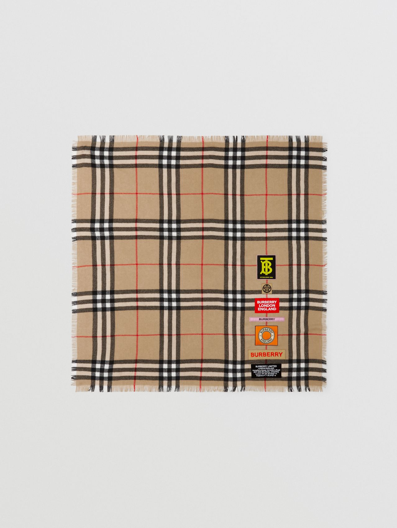 Logo Graphic Check Cashmere Large Square Scarf in Archive Beige