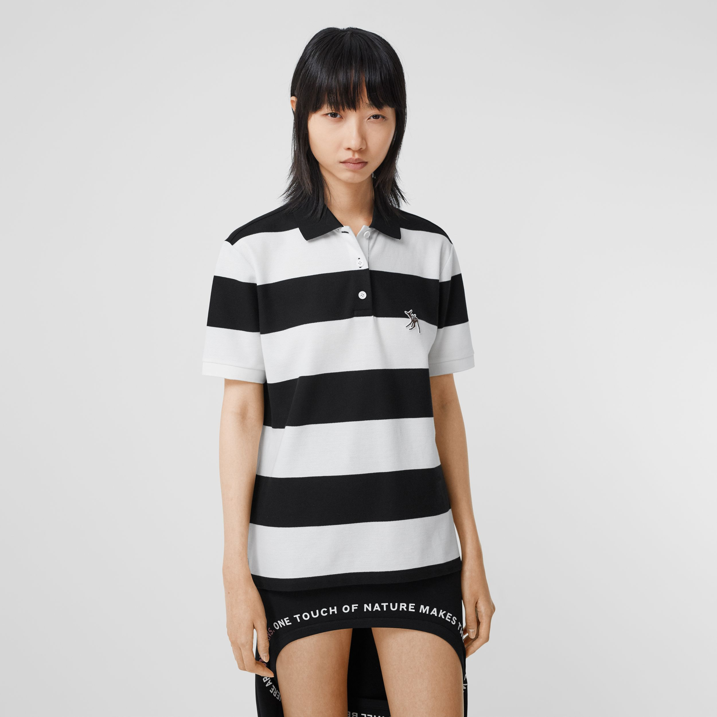 Deer Motif Striped Cotton Piqué Oversized Polo Shirt in Black - Women | Burberry - 1