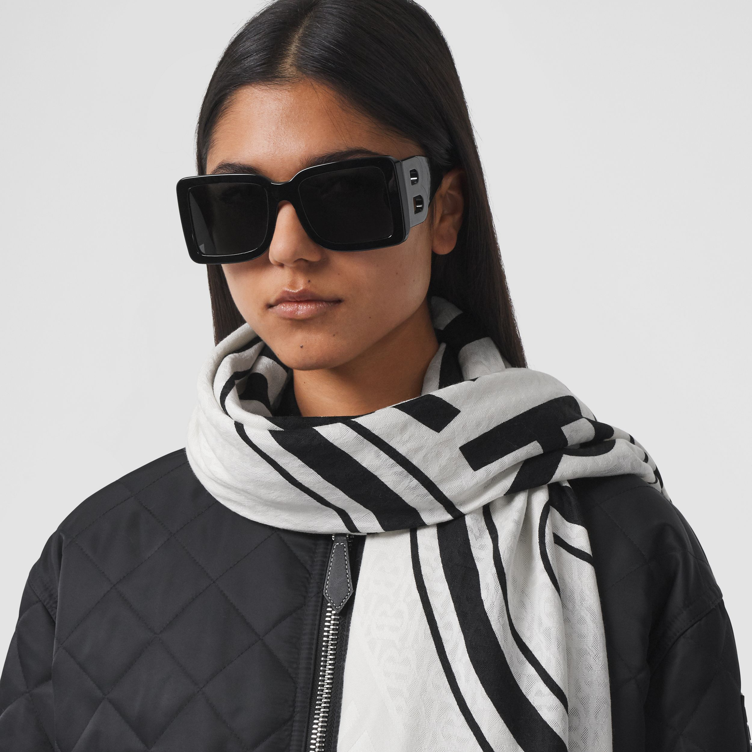 Logo Graphic Silk Wool Jacquard Large Square Scarf in White/black | Burberry Singapore - 3