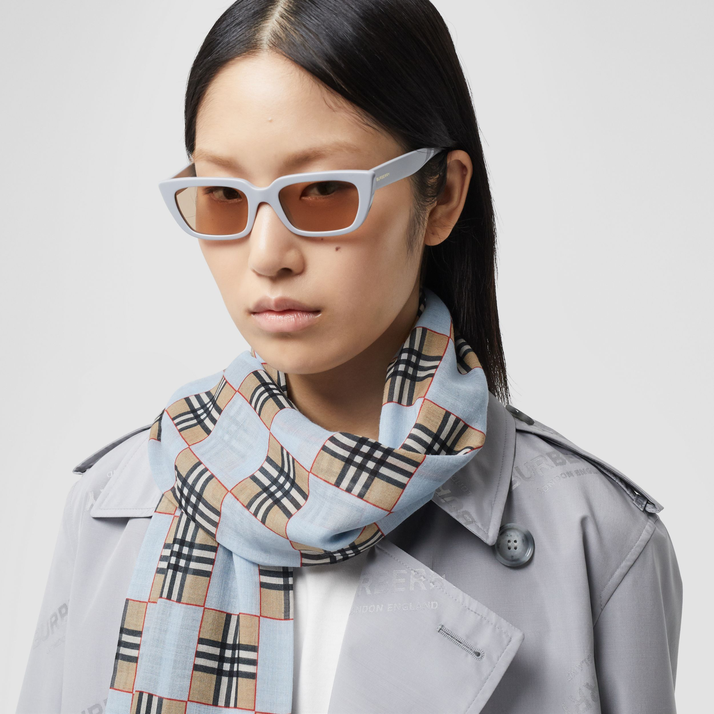 Chequer Print Wool Silk Scarf in Pale Blue | Burberry - 3