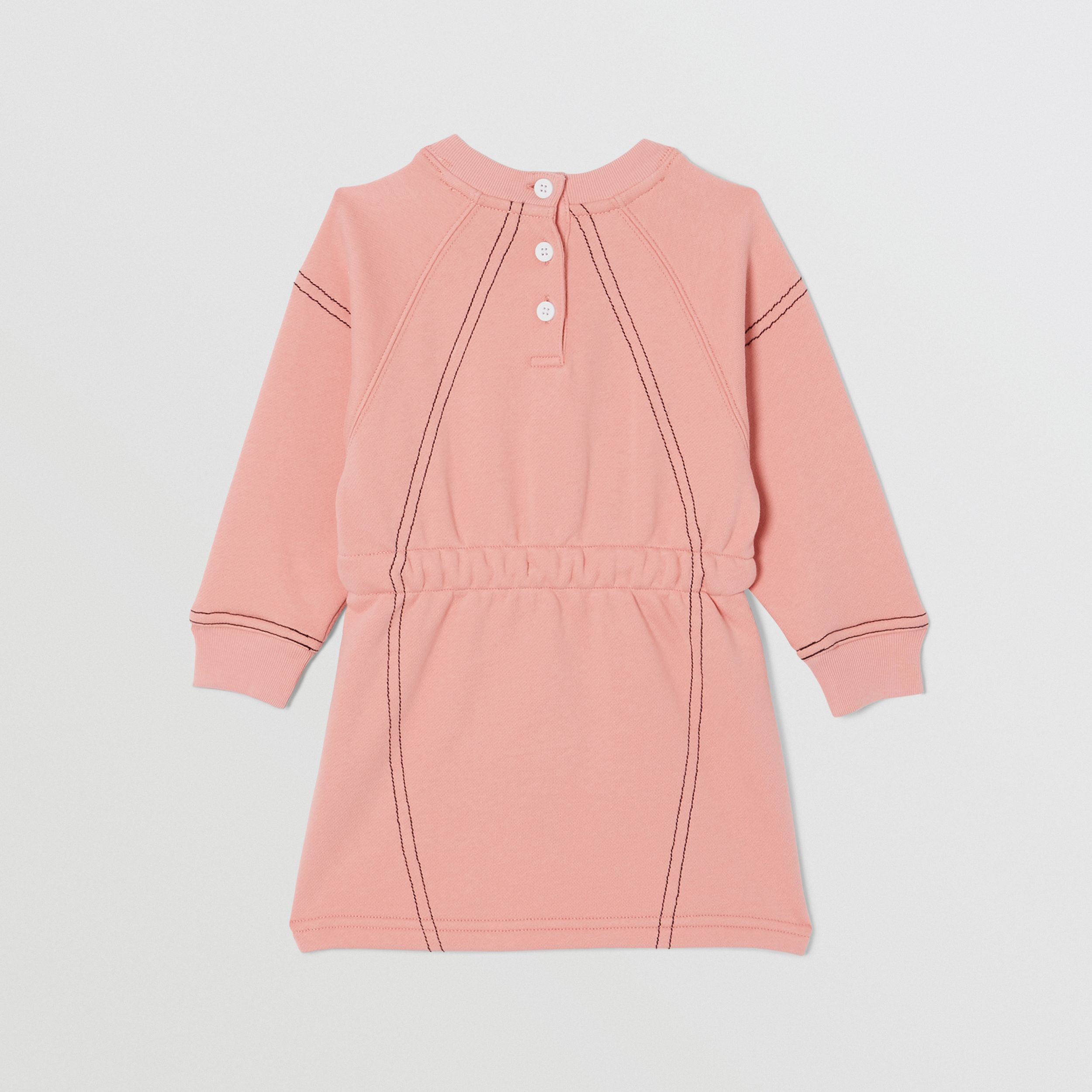 Logo Print Cotton Sweater Dress in Peach - Children | Burberry - 4