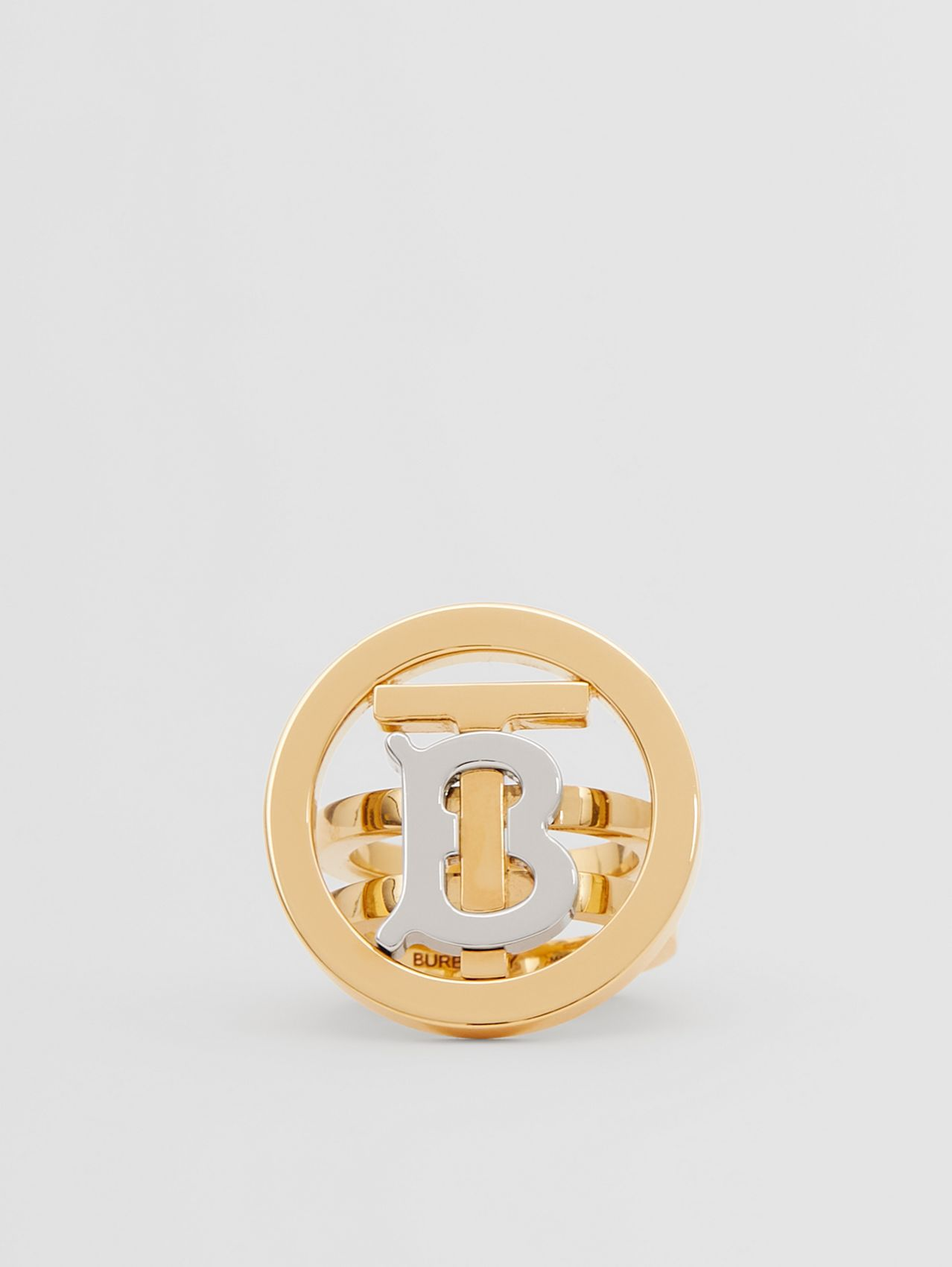 Gold and Palladium-plated Monogram Motif Ring in Light