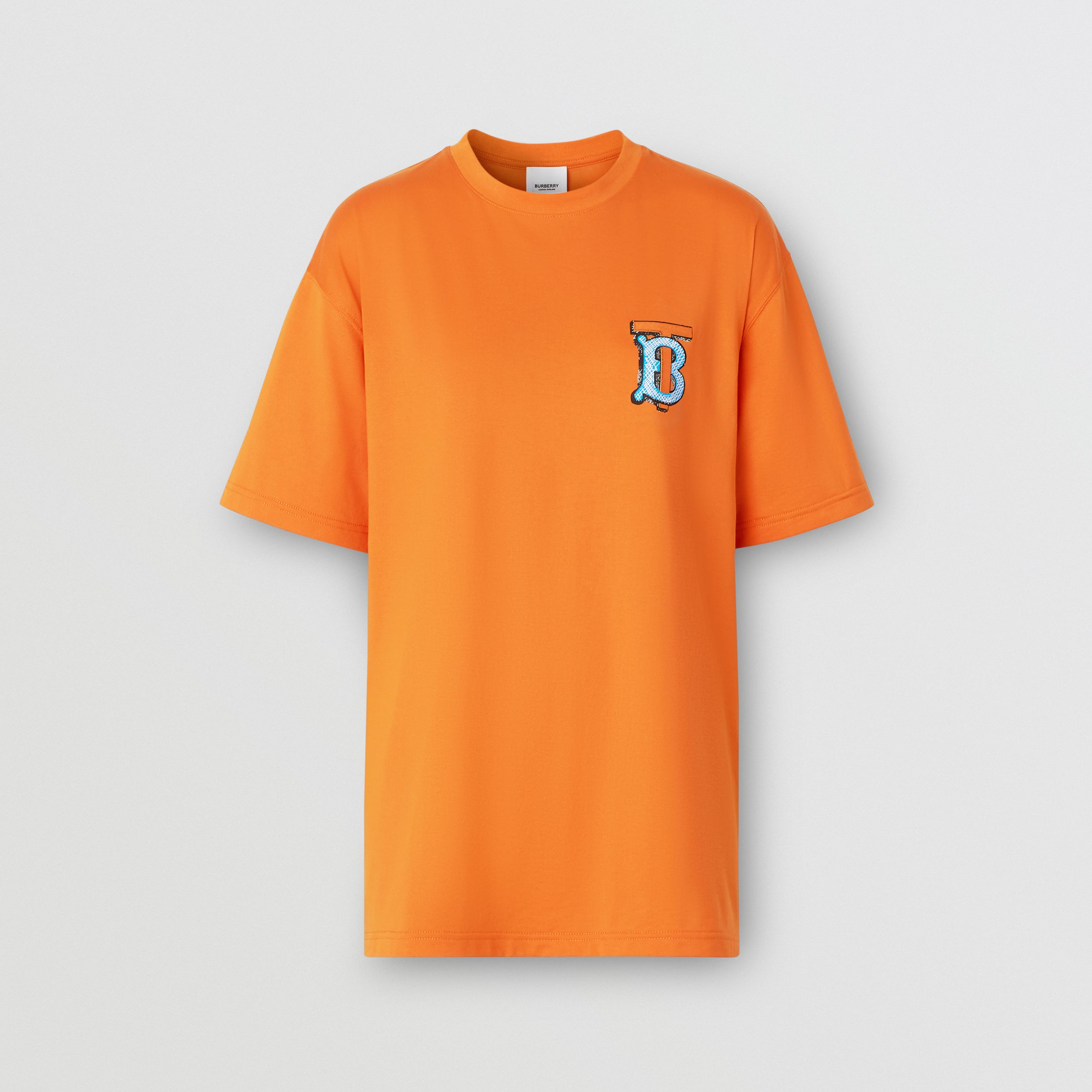 Monogram Motif Cotton T-shirt – Unisex in Bright Orange | Burberry United Kingdom - 1
