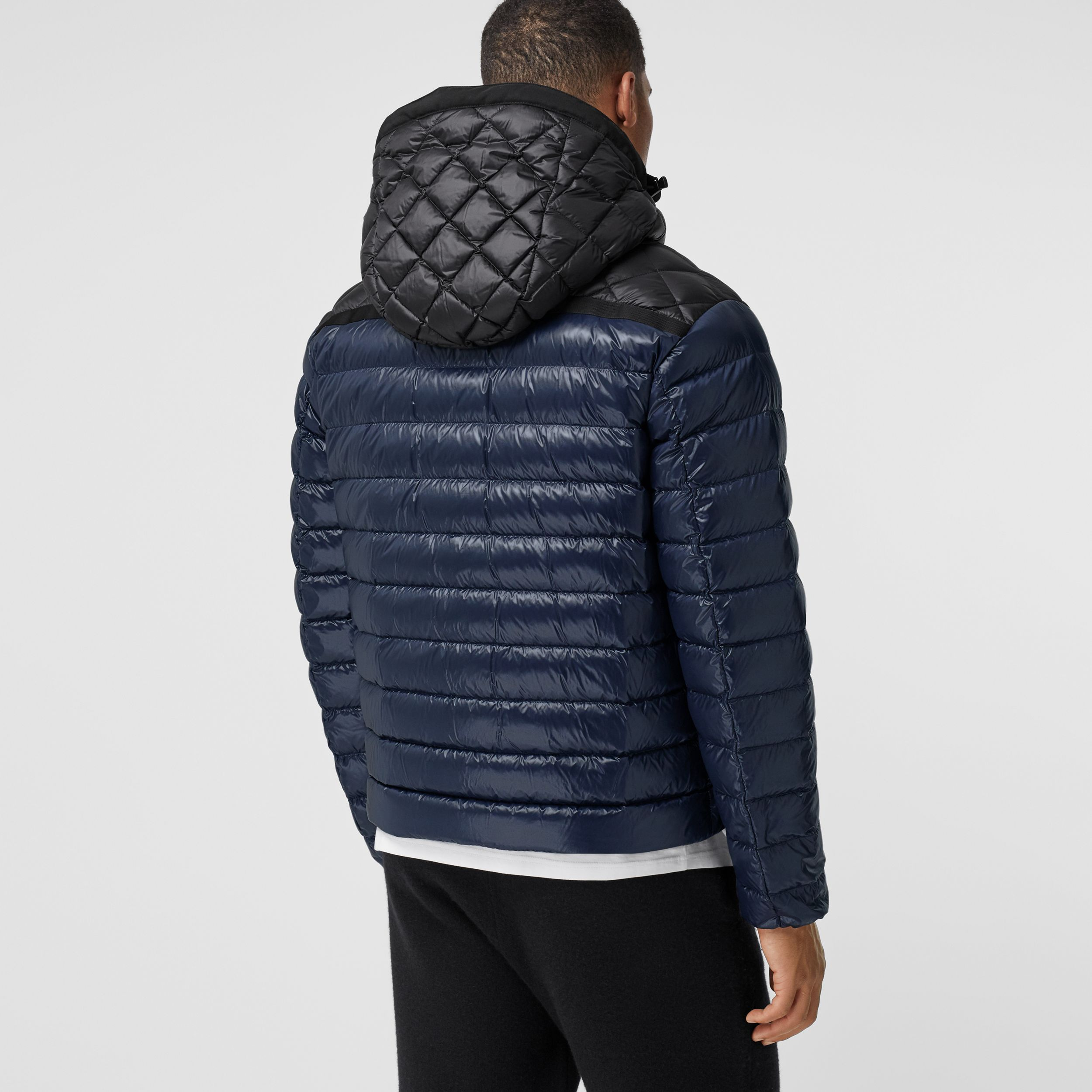 Diamond Quilted Panel Hooded Puffer Jacket in Midnight - Men | Burberry - 3