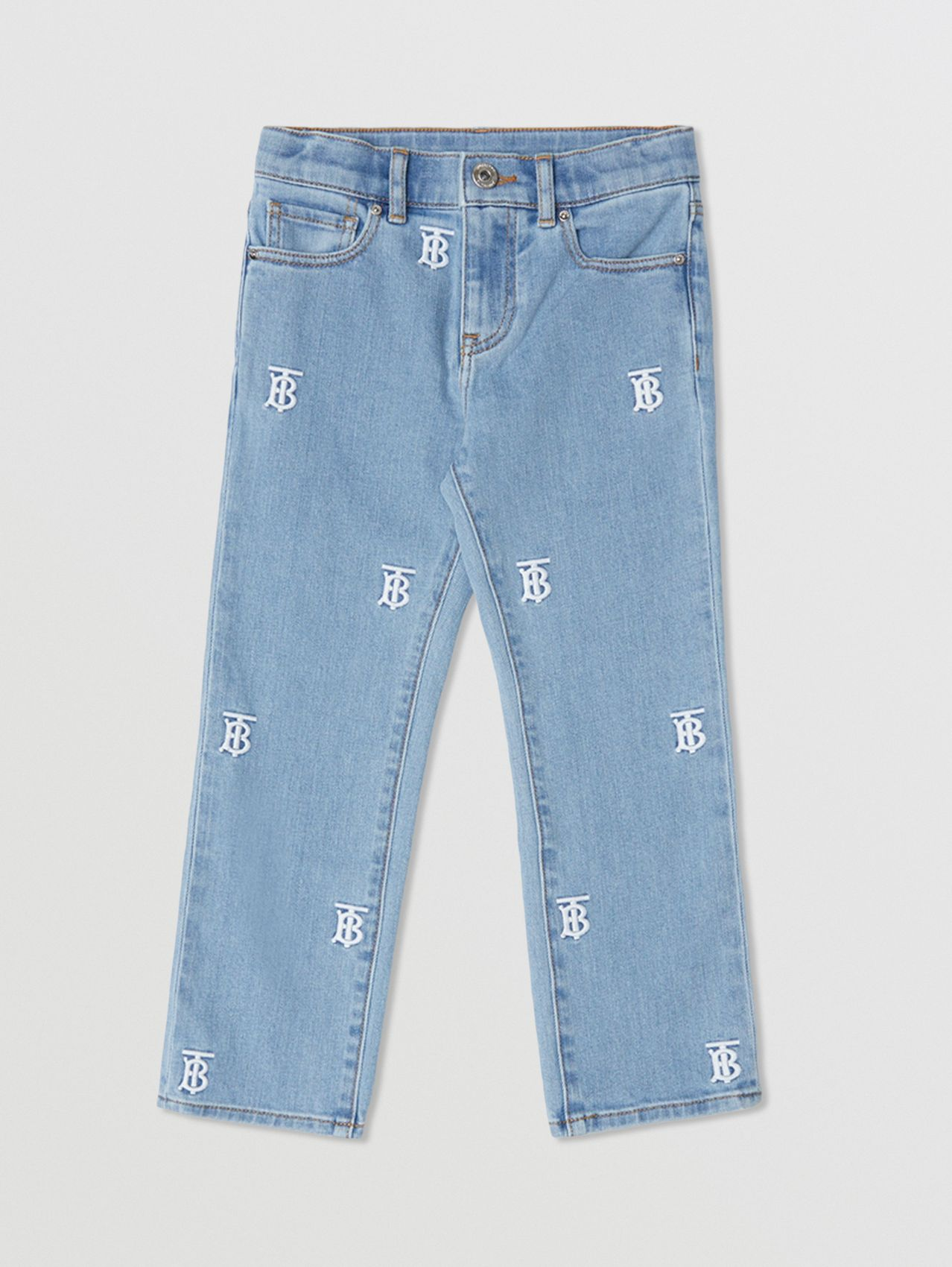 Monogram Motif Stretch Denim Jeans in Pale Blue