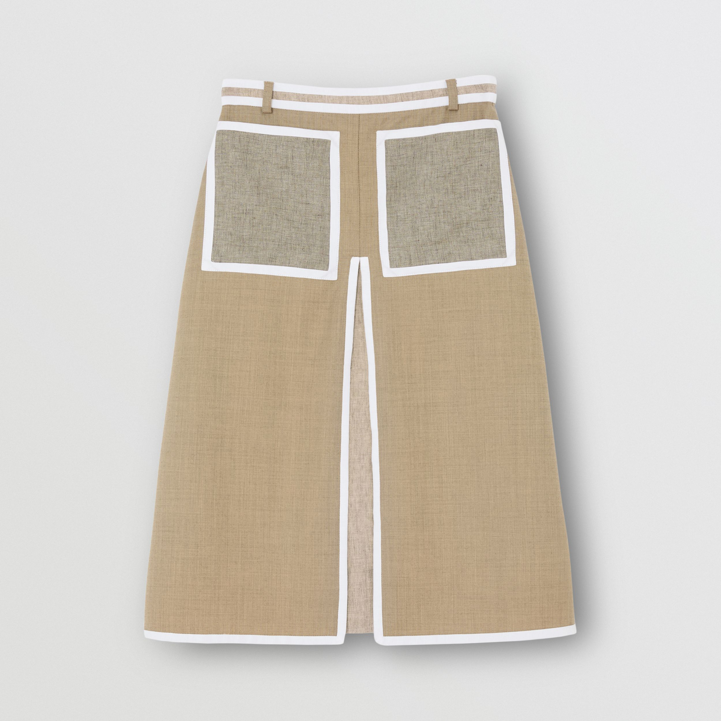 Box-pleat Detail Wool Cashmere A-line Skirt in Pecan Melange - Women | Burberry - 4