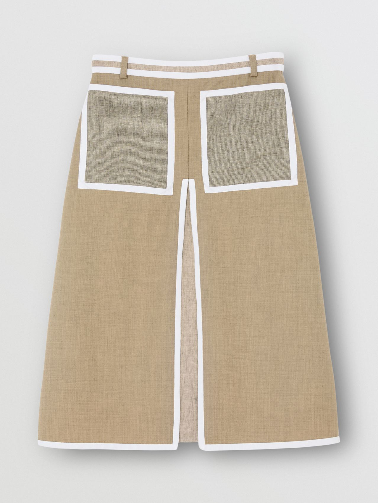 Box-pleat Detail Wool Cashmere A-line Skirt in Pecan Melange