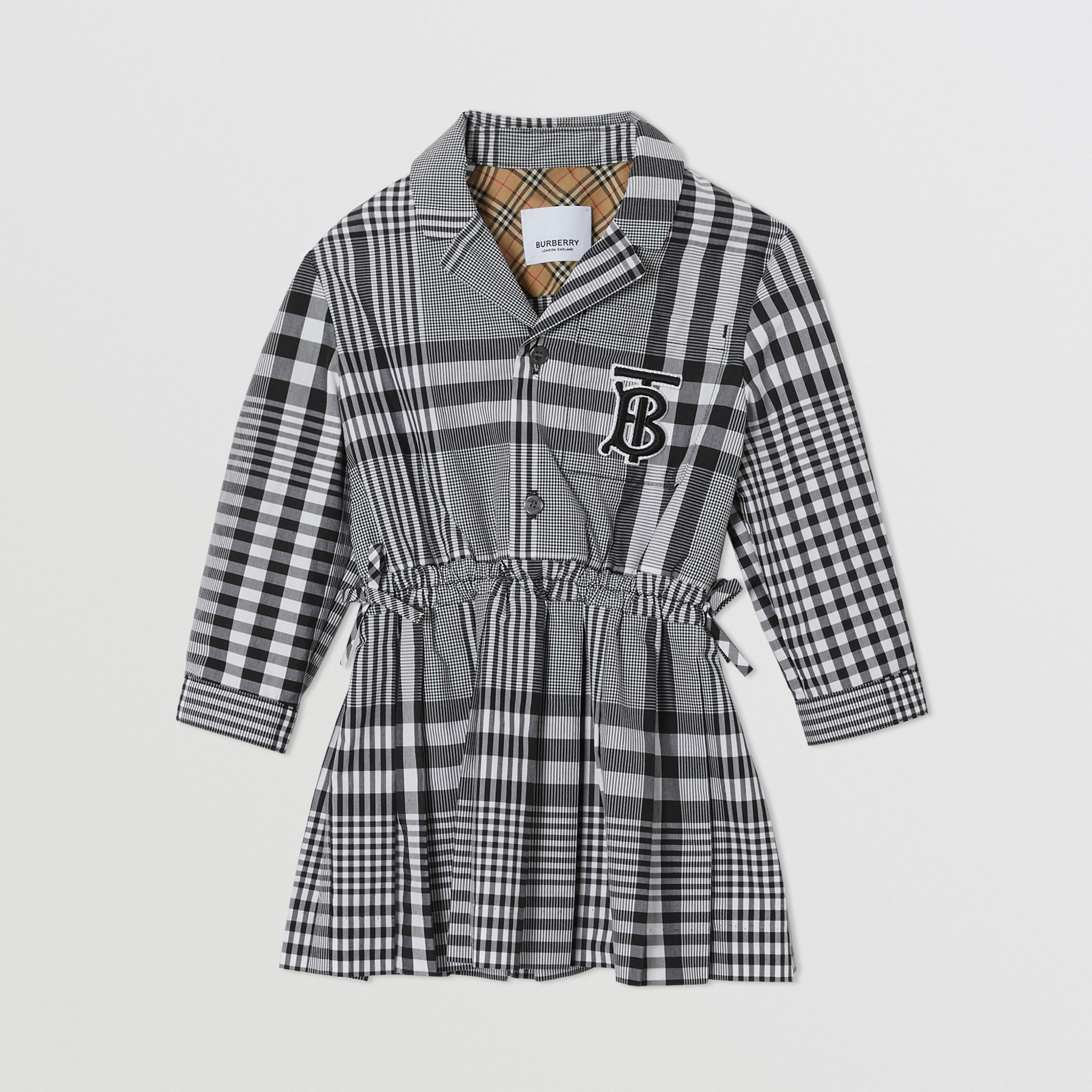 Long-sleeve Monogram Motif Check Cotton Dress in Black - Children | Burberry - 1