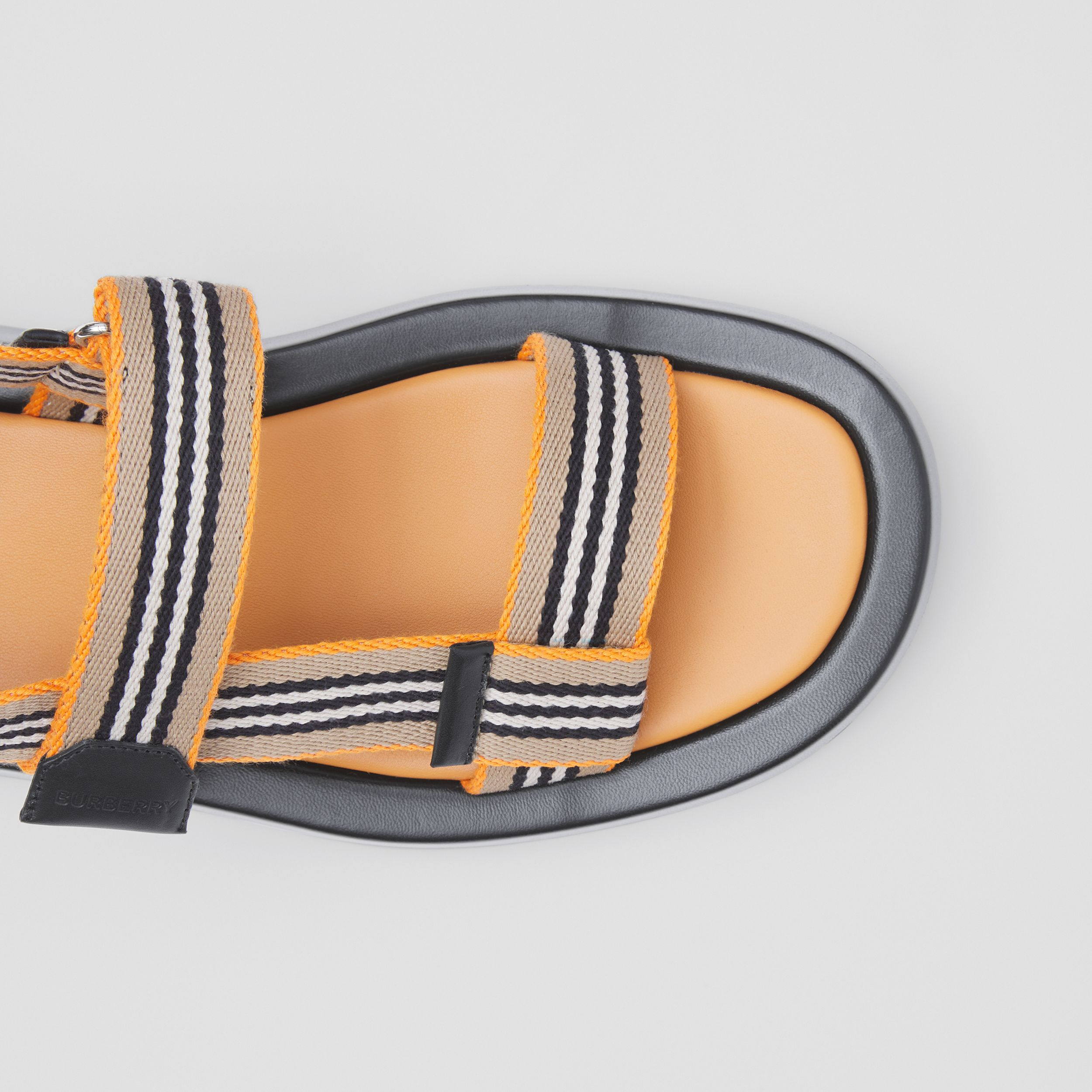 Icon Stripe Sandals in Deep Orange - Women | Burberry - 2