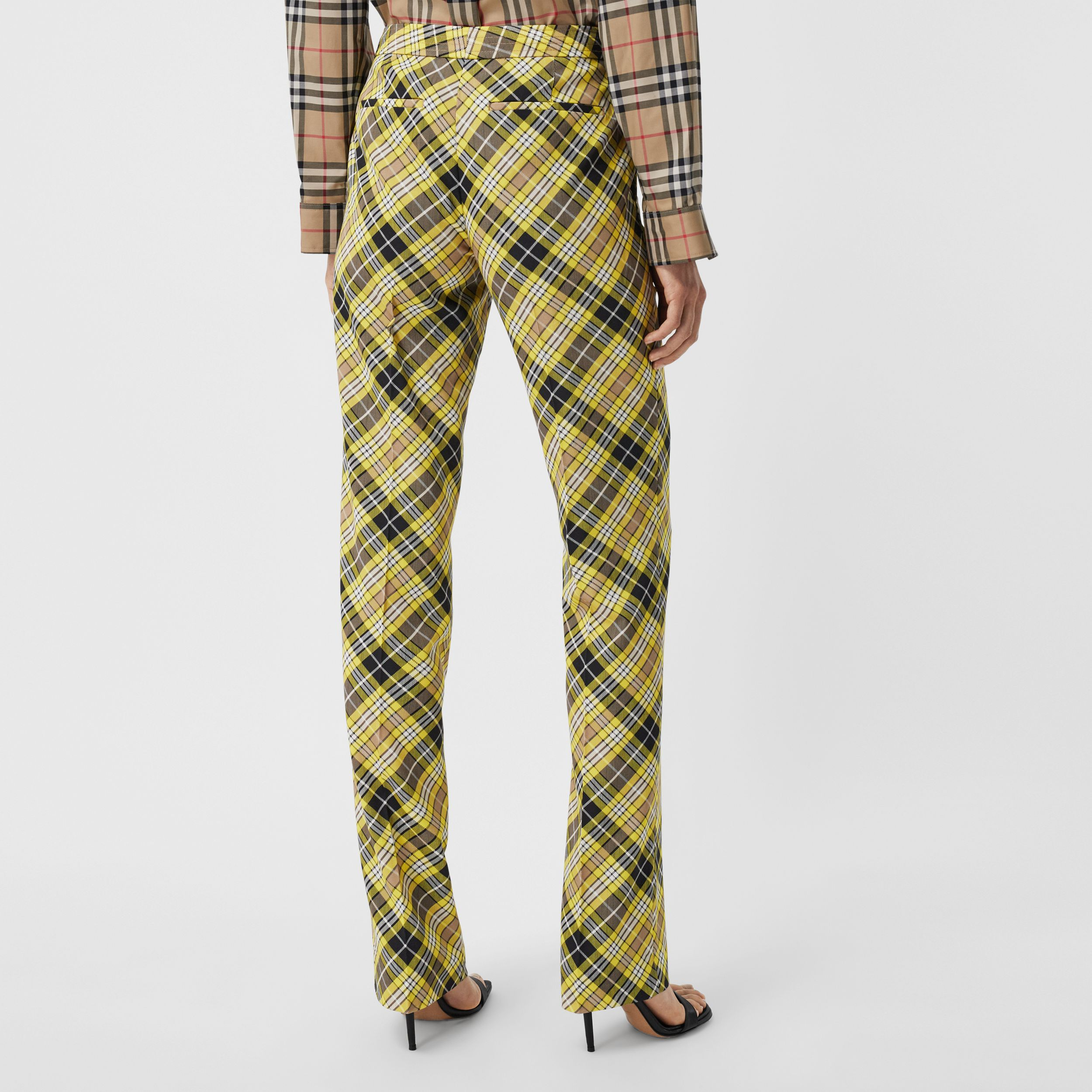 Cropped Check Technical Wool Tailored Trousers in Marigold Yellow - Women | Burberry - 3