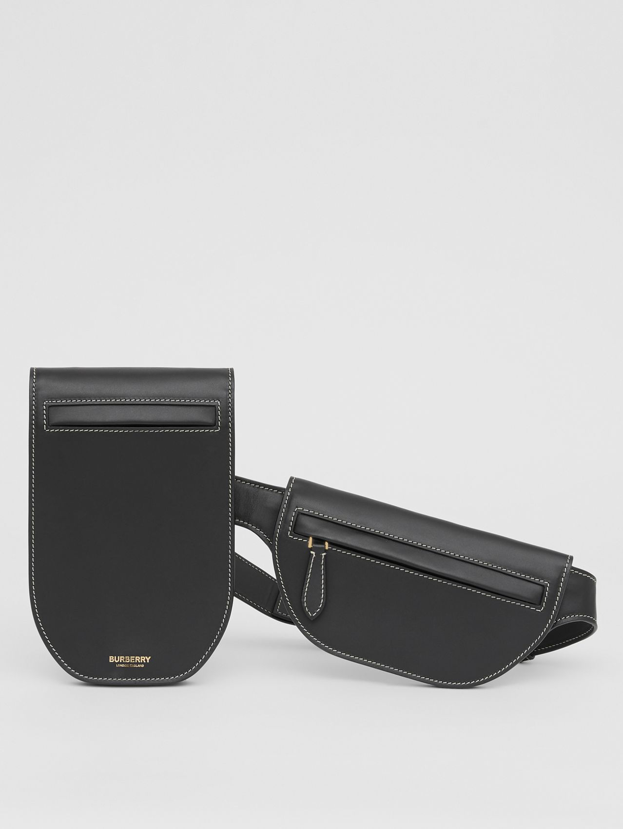 Topstitched Leather Olympia Belt Bag in Black