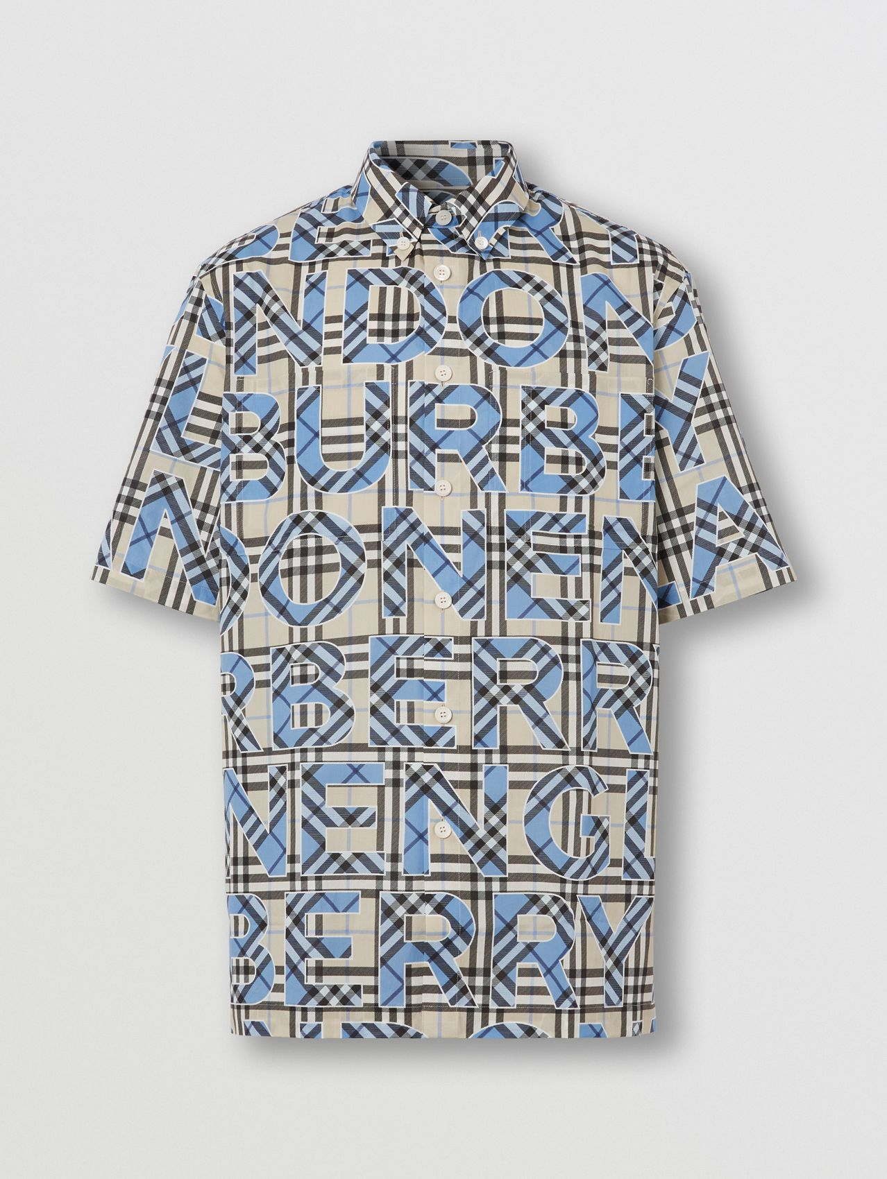 Short-sleeve Vintage Check Logo Print Cotton Shirt in Vivid Cobalt
