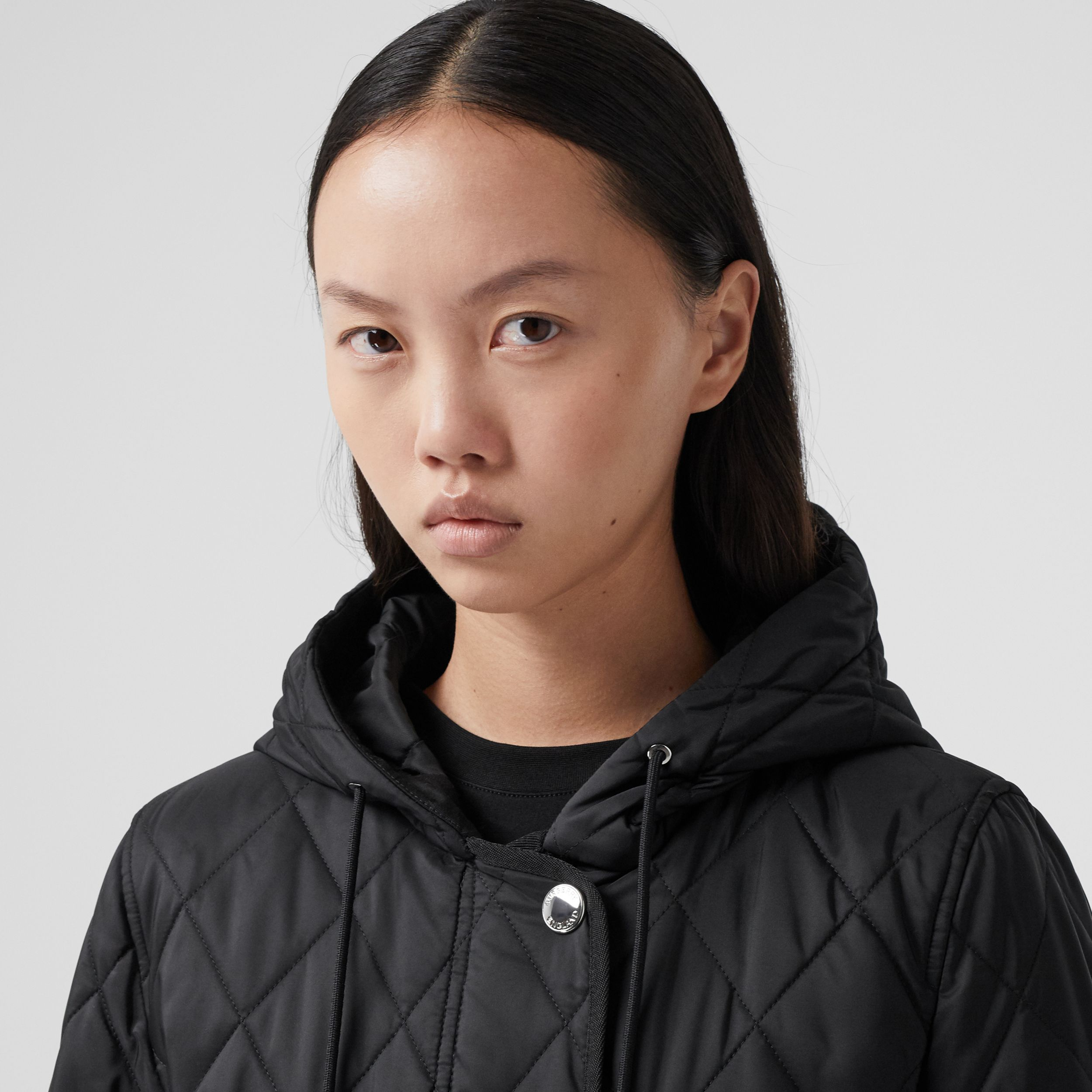 Diamond Quilted Thermoregulated Hooded Coat in Black - Women | Burberry - 2