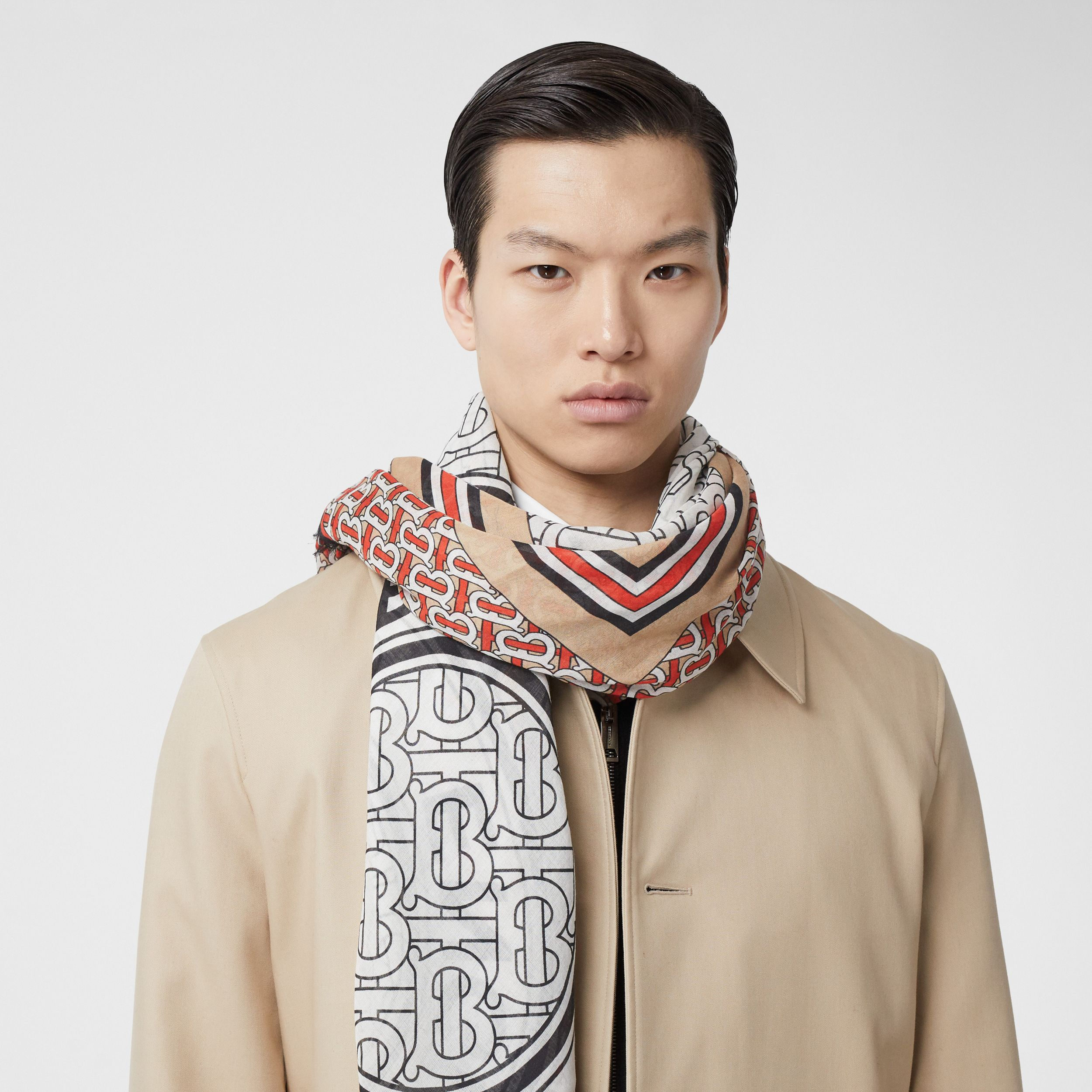 Monogram Print Wool Silk Large Square Scarf | Burberry - 3