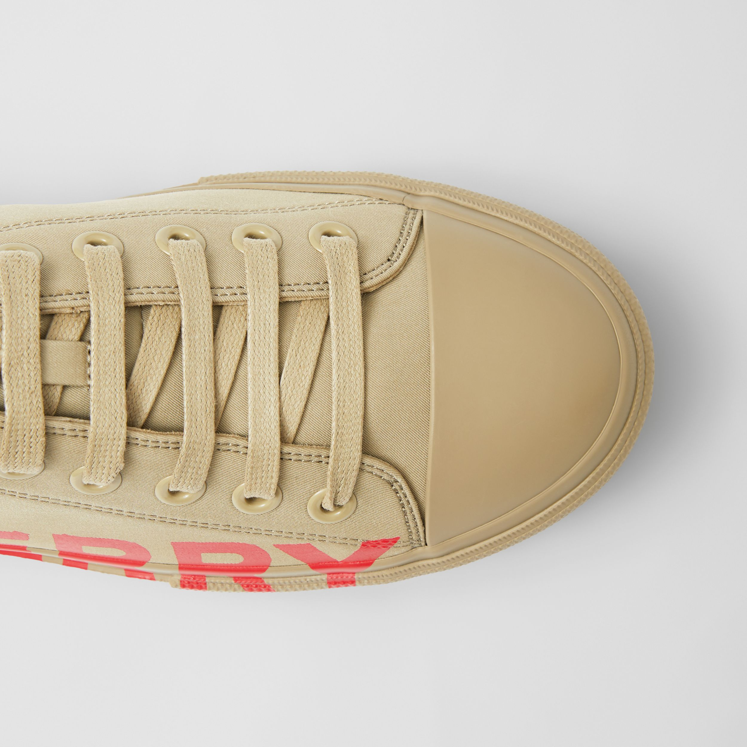 Logo Print Cotton Gabardine Sneakers in Dark Honey - Men | Burberry United Kingdom - 2