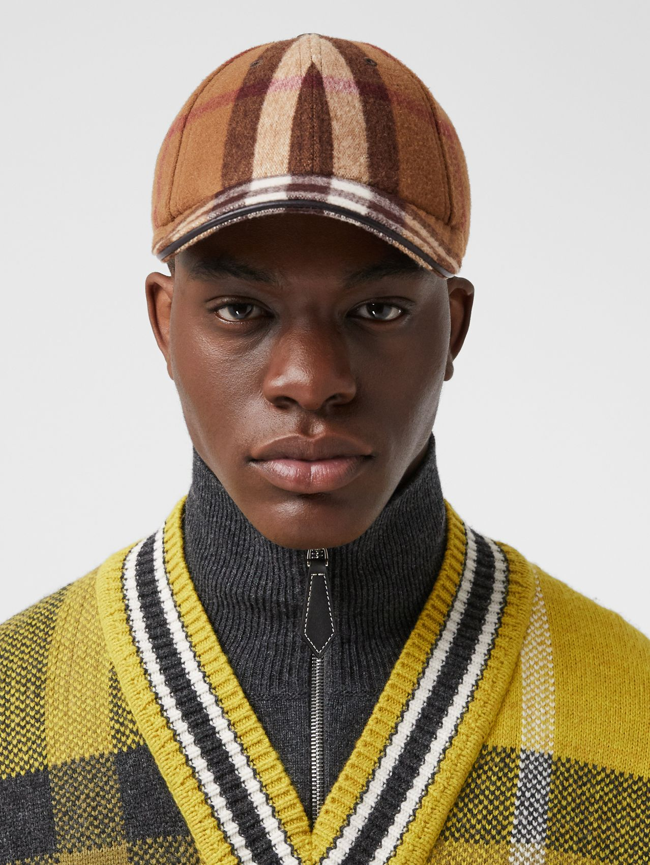 Lambskin Trim Check Wool Baseball Cap in Birch Brown