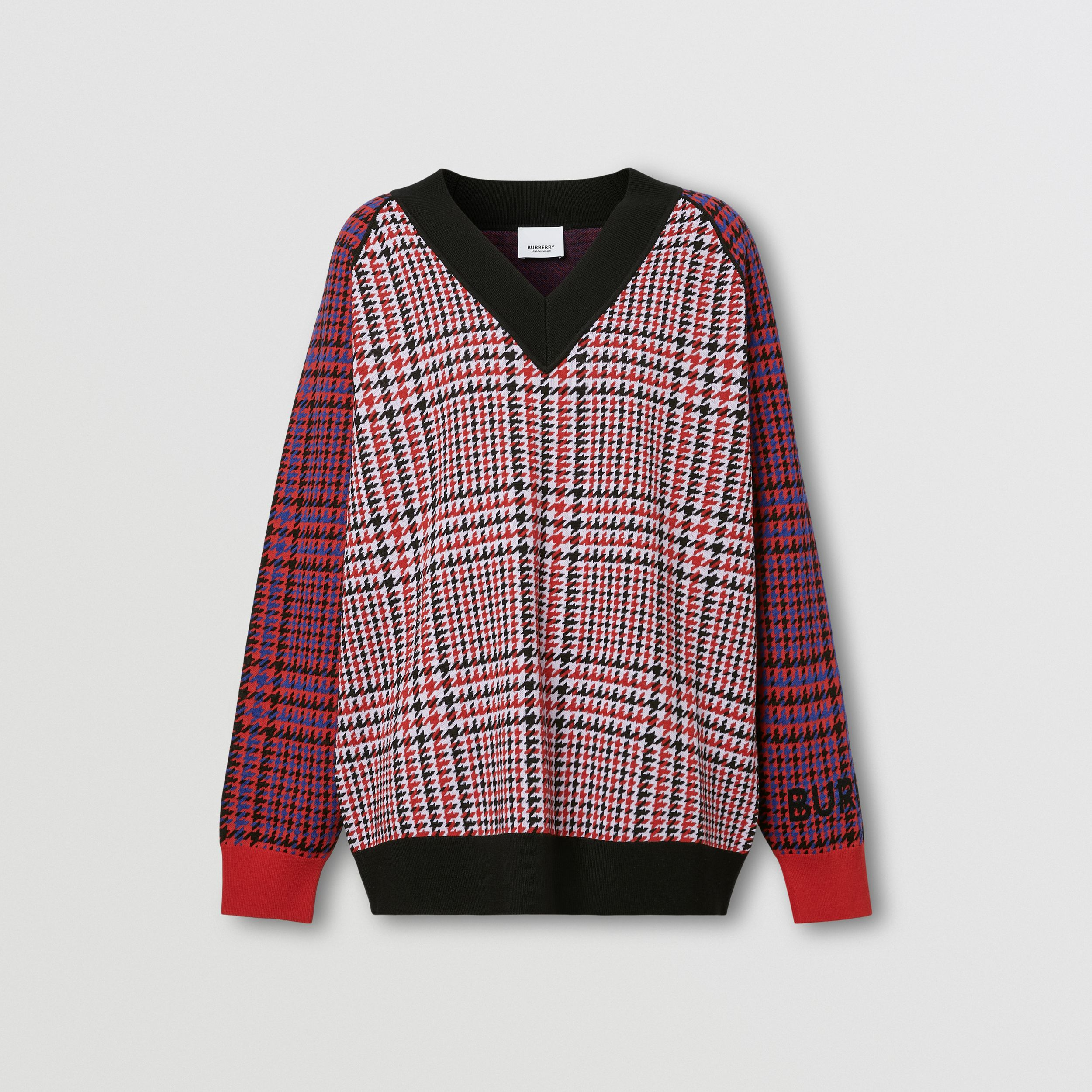 Houndstooth Check Technical Merino Wool Sweater in Bright Red - Women | Burberry Hong Kong S.A.R. - 4