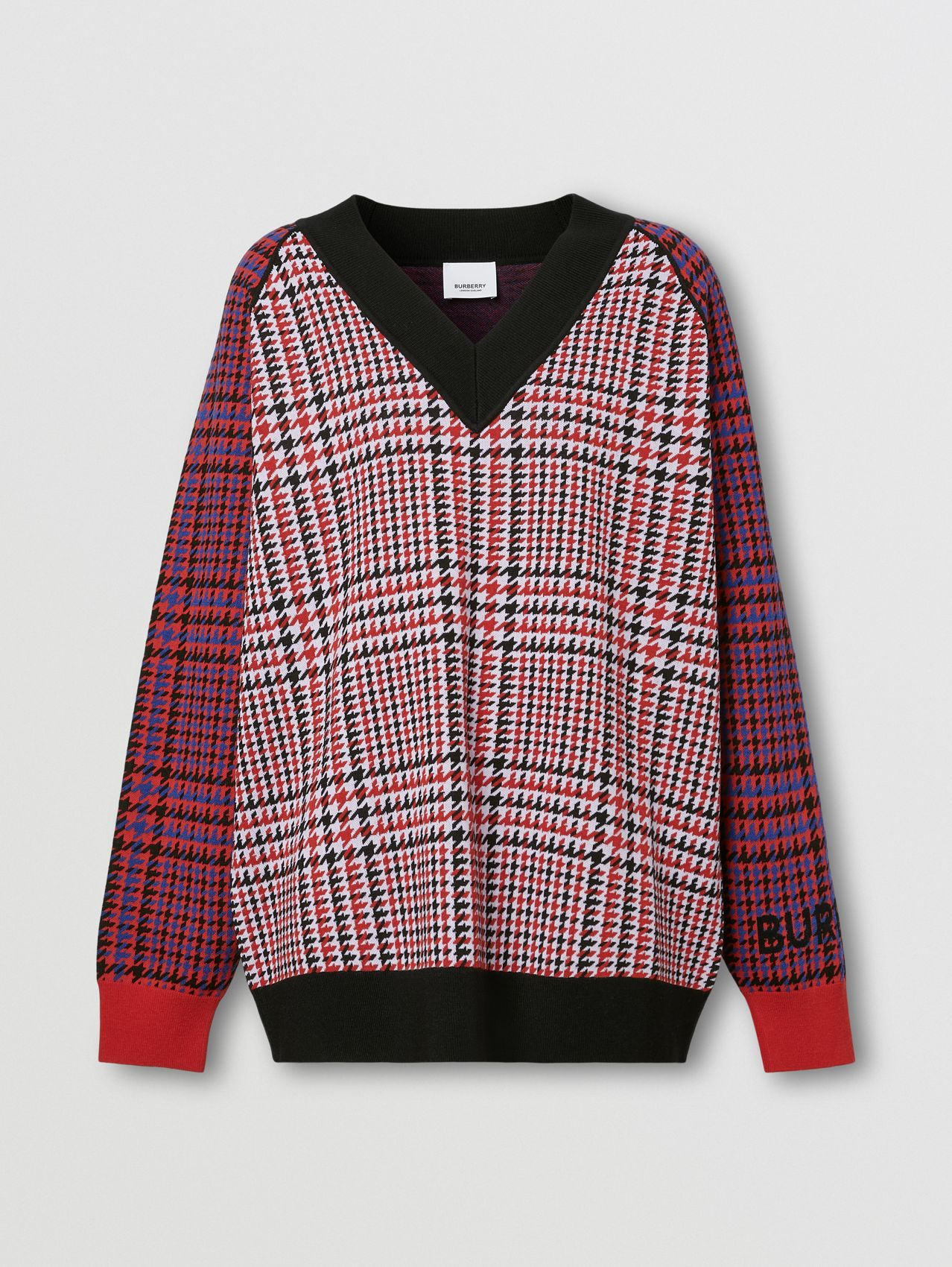Houndstooth Check Technical Merino Wool Sweater in Bright Red