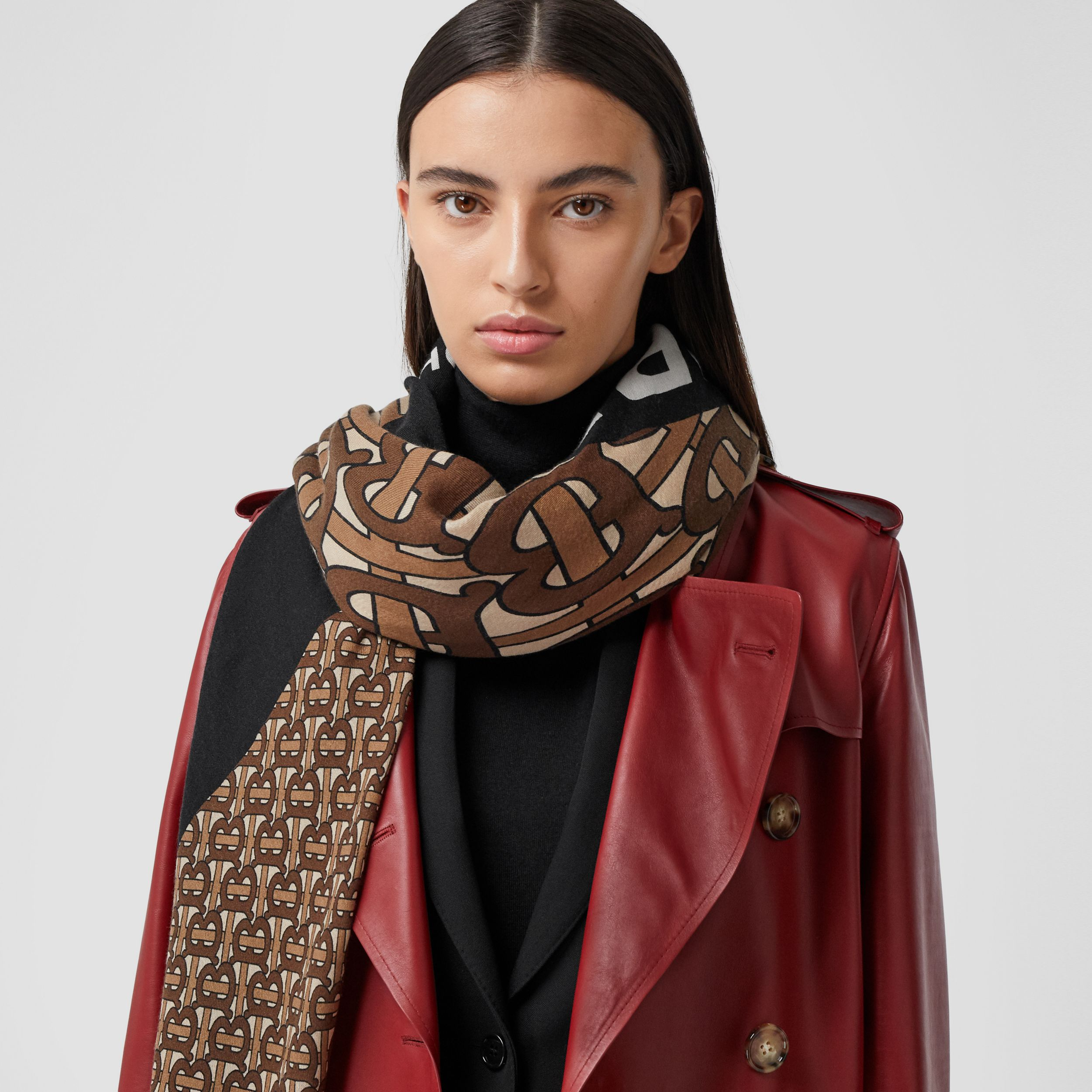 Monogram Print Cashmere Large Square Scarf in Bridle Brown | Burberry - 3