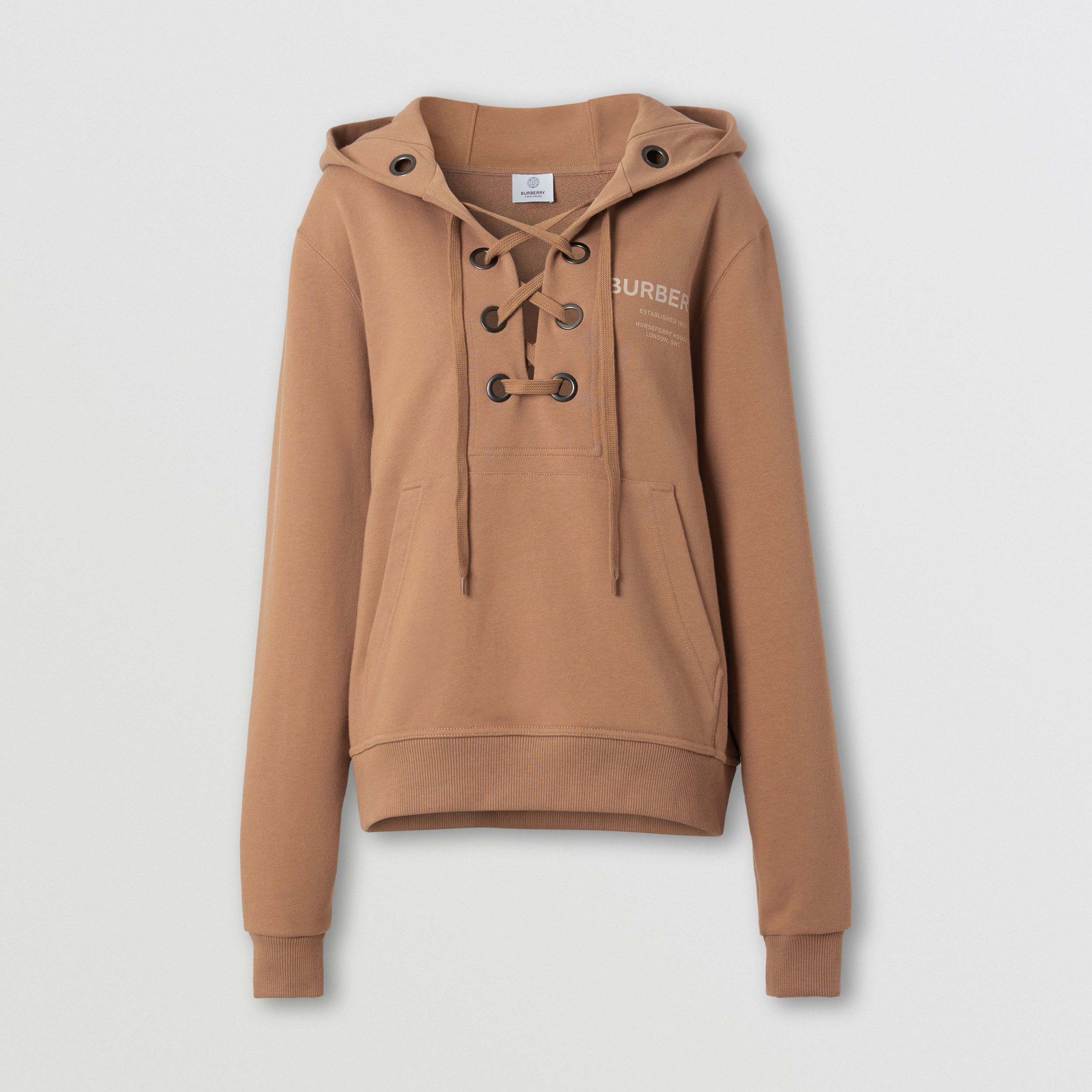 Lace-up Horseferry Print Cotton Oversized Hoodie in Camel - Women | Burberry - 4
