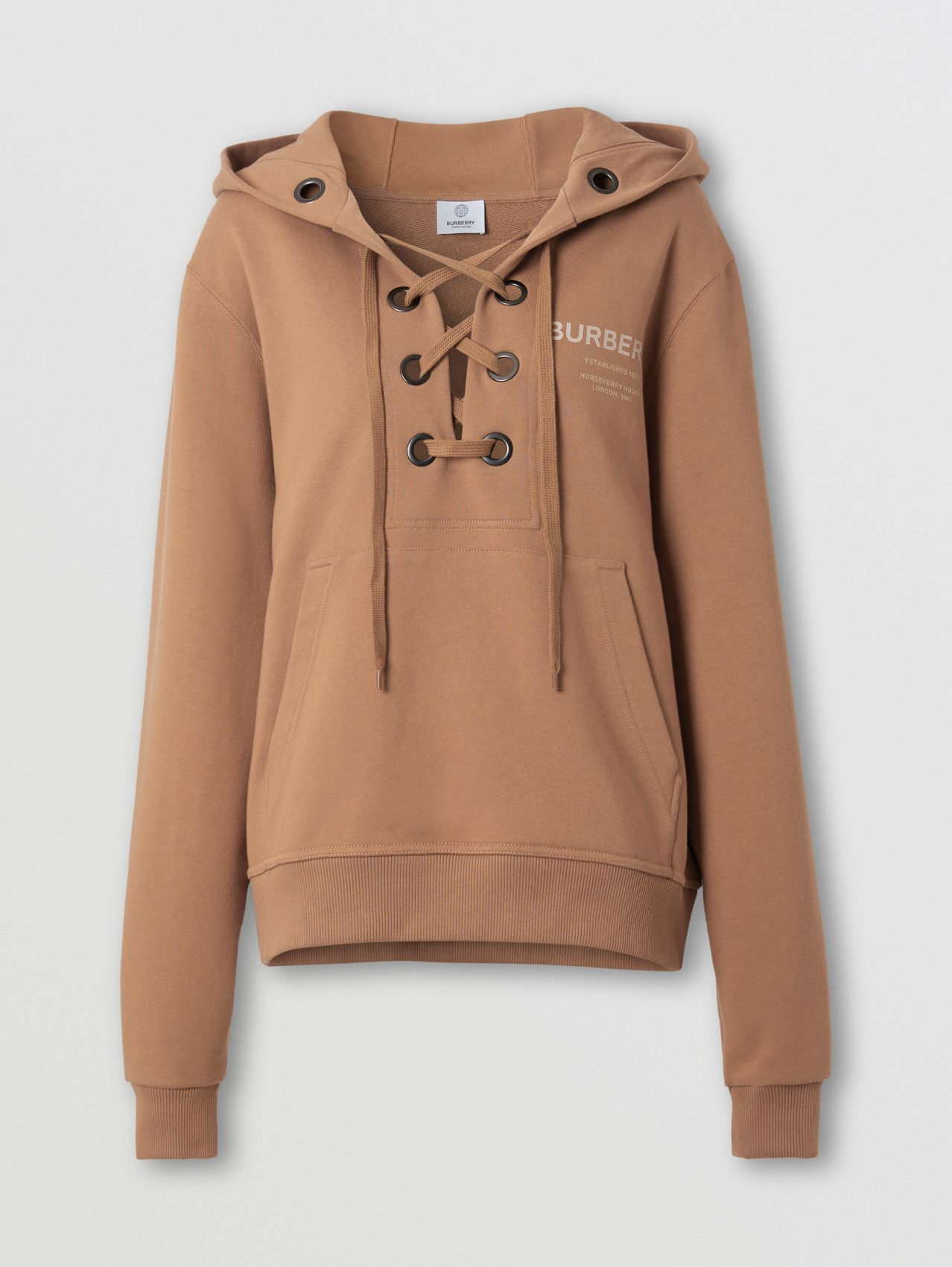 Lace-up Horseferry Print Cotton Oversized Hoodie in Camel