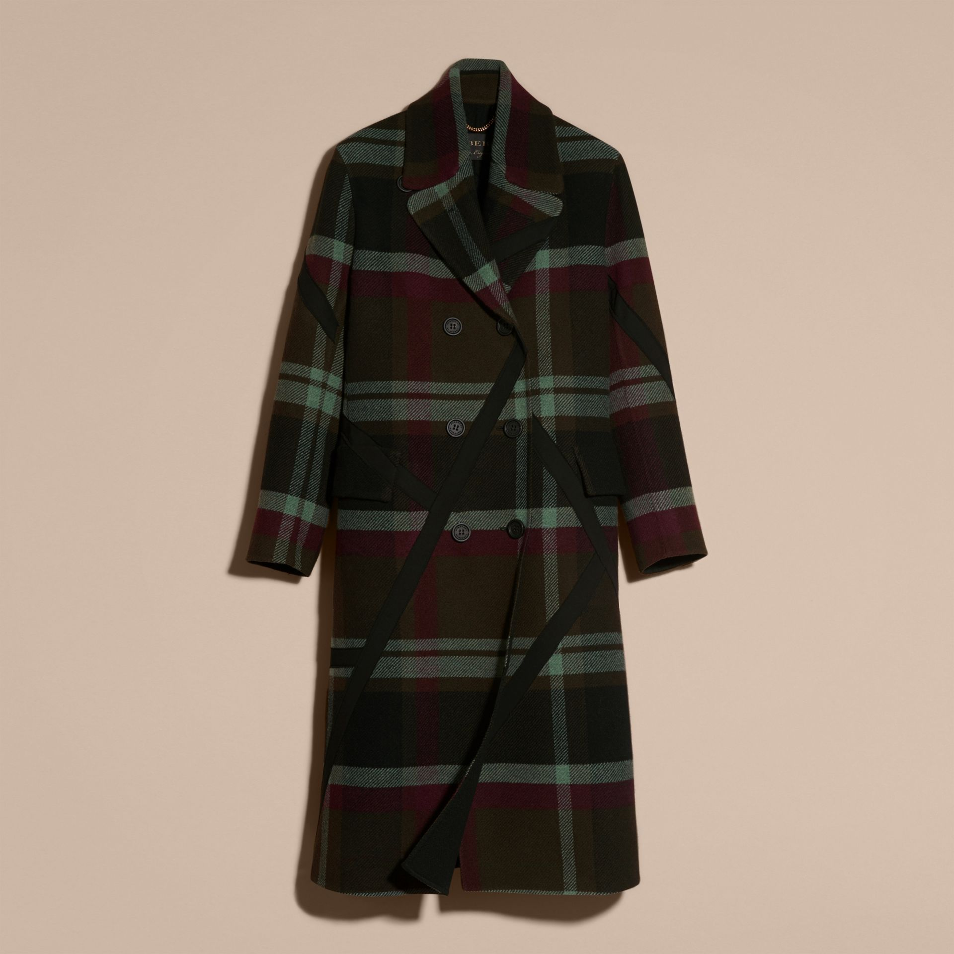 Vert militaire Manteau non doublé à double boutonnage en laine tartan - photo de la galerie 4