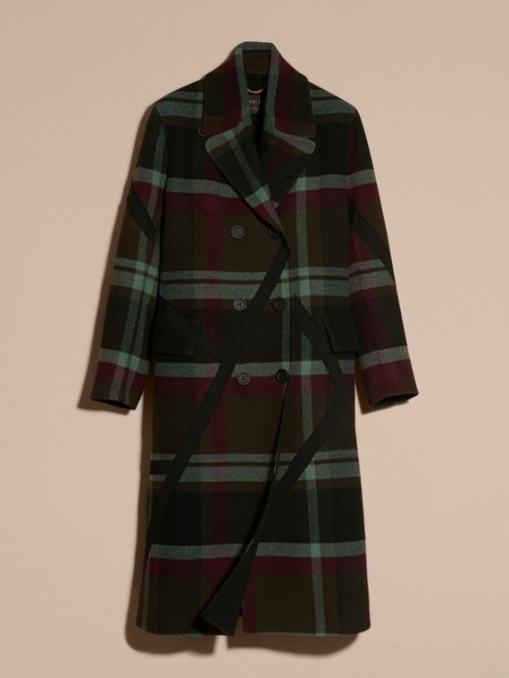 Military green Unlined Tartan Wool Double-breasted Coat - cell image 3