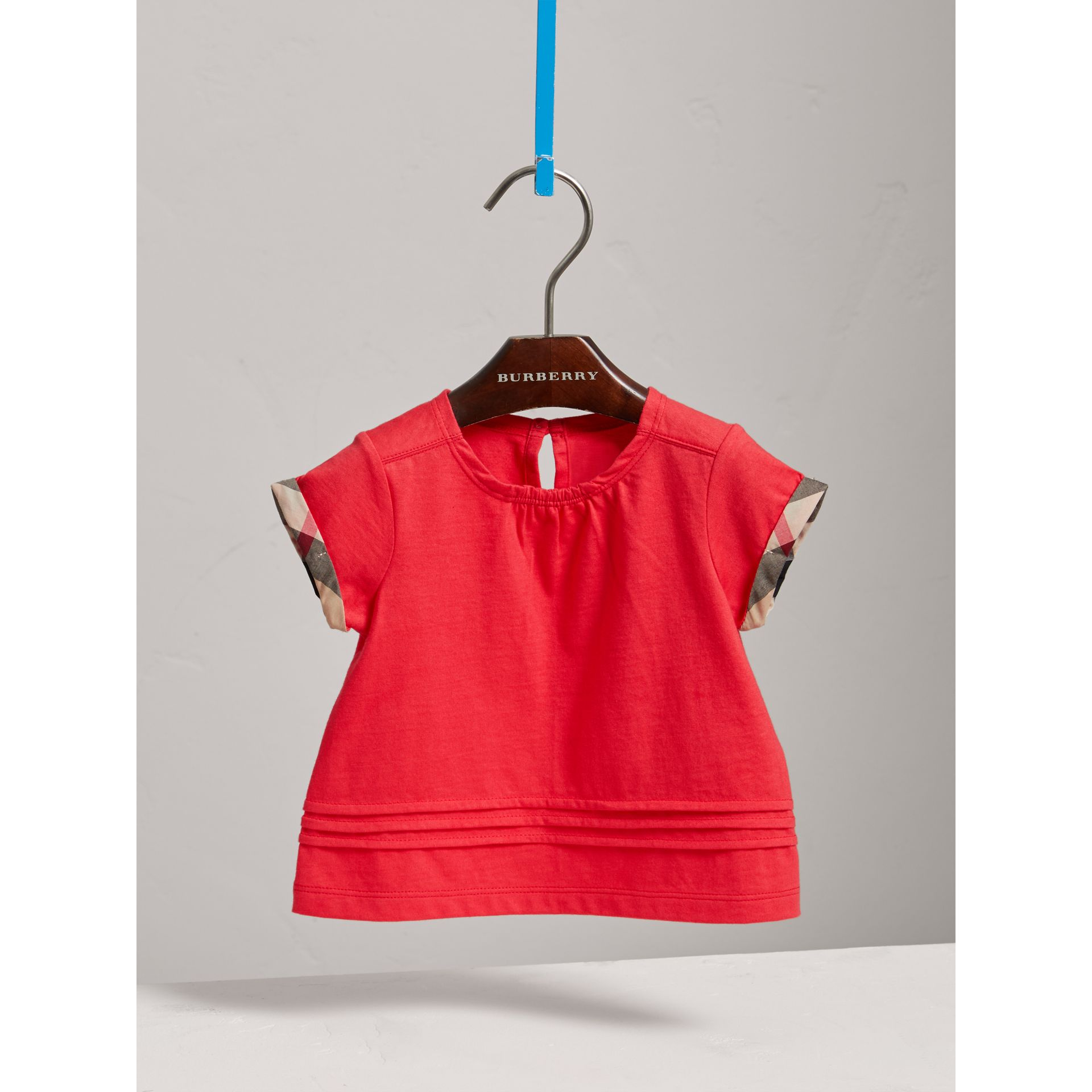 Pleat and Check Detail Cotton T-shirt in Bright Orange Red | Burberry - gallery image 2