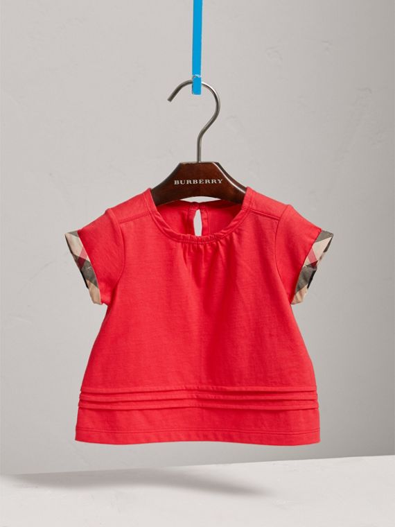 Pleat and Check Detail Cotton T-shirt in Bright Orange Red | Burberry - cell image 2