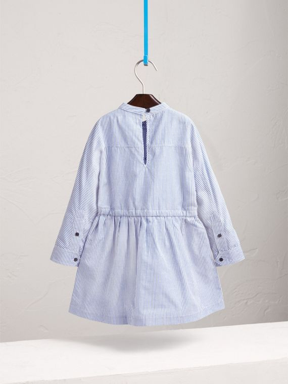 London Icons Appliqué Cotton Linen Shirt Dress in Pale Blue/white - Girl | Burberry - cell image 3