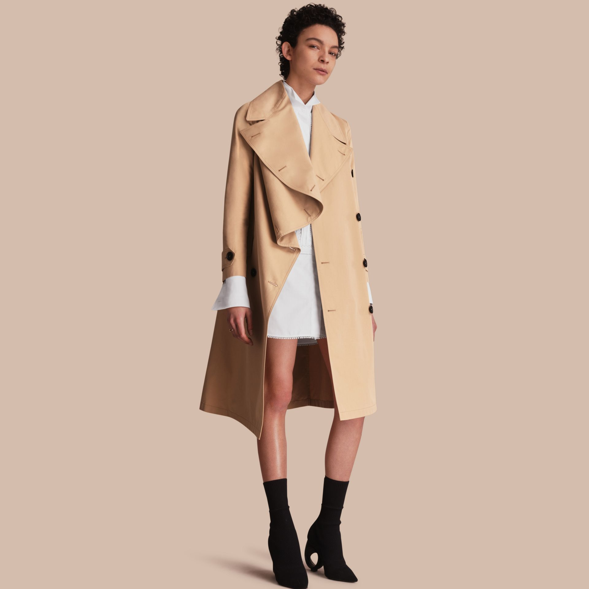 Curved Closure Cotton Gabardine Coat in Honey - Women | Burberry - gallery image 0