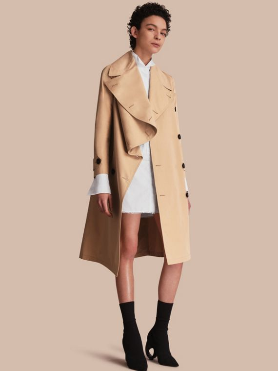 Cotton Gabardine Coat with Curved Closure Honey