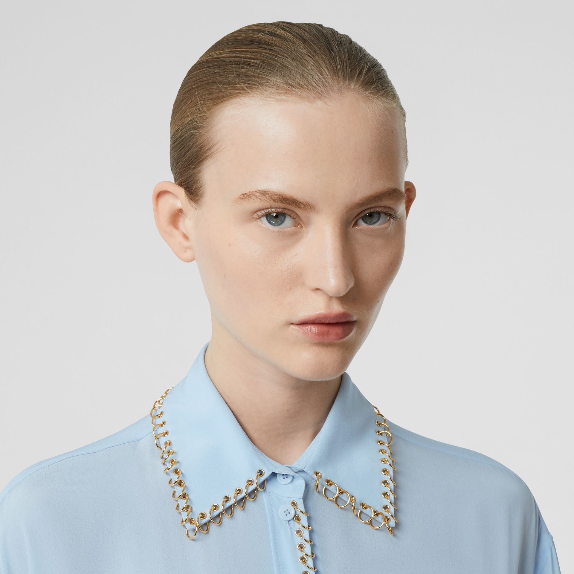 Ring-pierced Silk Crepe Shirt in Pale Blue - Women | Burberry - gallery image 6