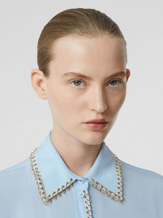 Ring-pierced Silk Crepe Shirt in Pale Blue